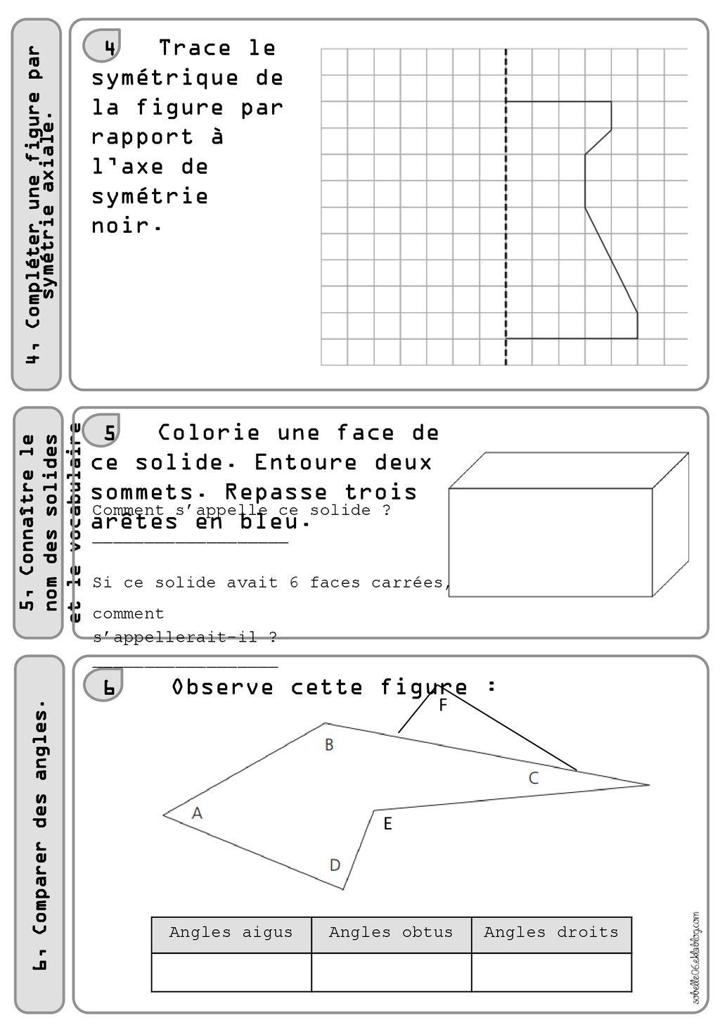 Evaluation De Maths 4 Cm1 1 Pose Et Calcule 2 Convertis serapportantà Symétrie Cm1 Exercices