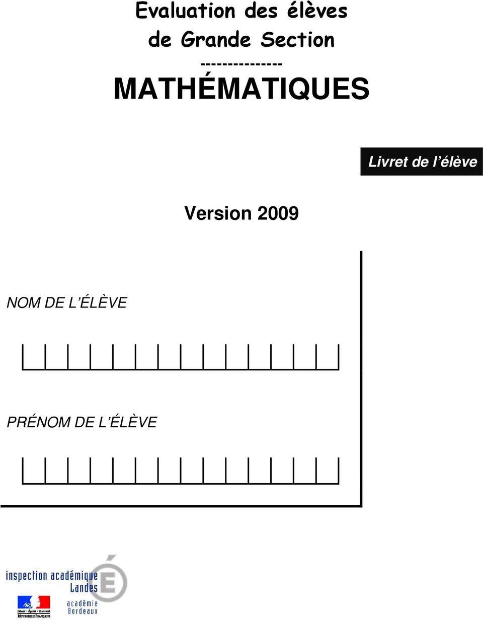 Evaluation Des Élèves De Grande Section - Pdf Téléchargement destiné Exercices Grande Section Maternelle Pdf