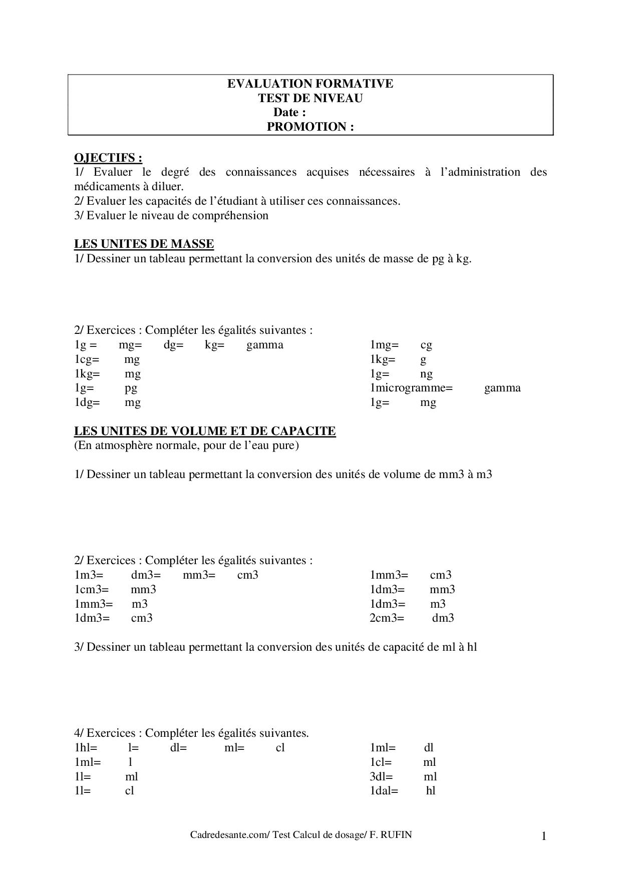 Évaluation Formative Calcul De Dosage - Docsity à Exercice Chiffre Romain