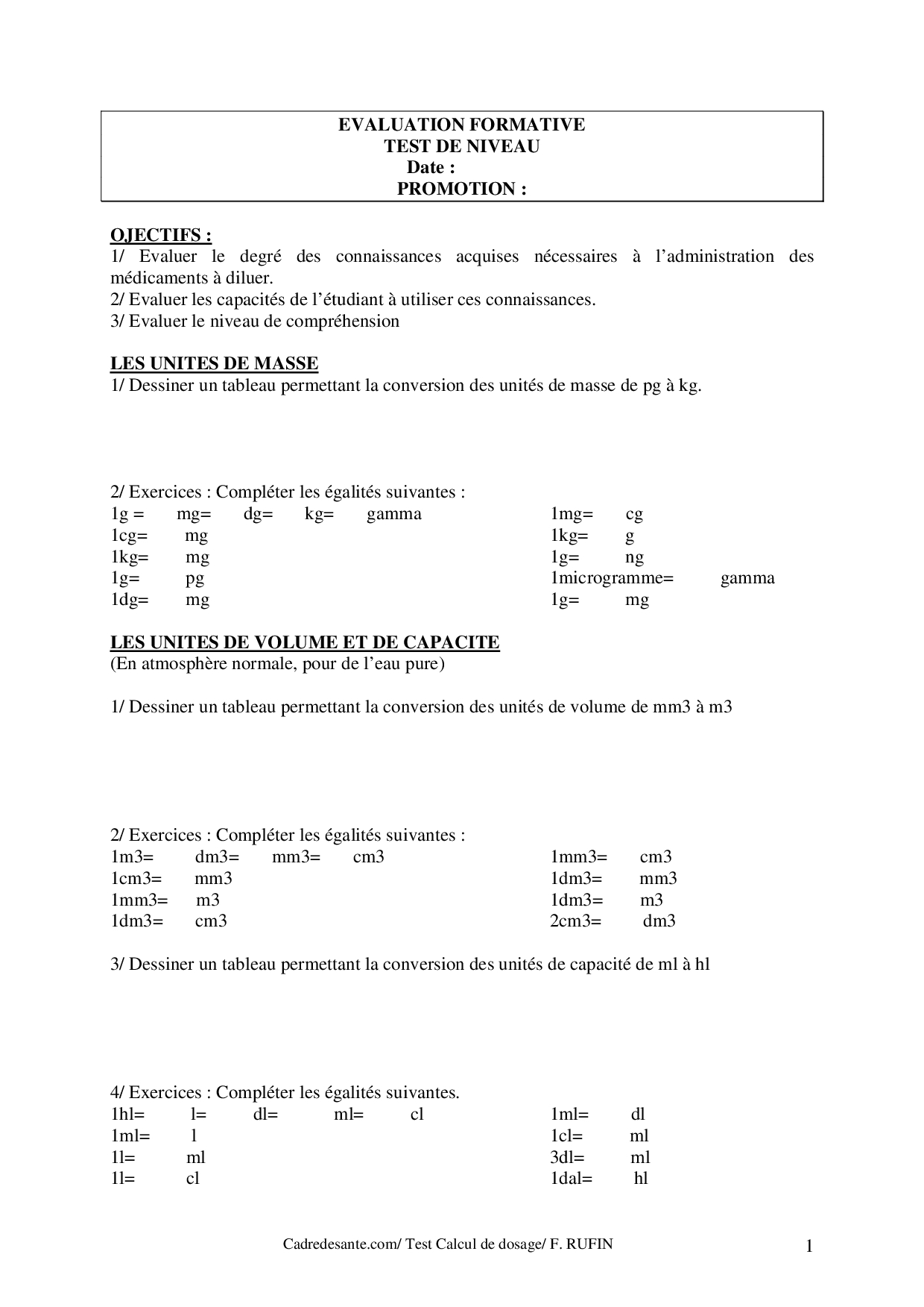 Évaluation Formative Calcul De Dosage - Docsity serapportantà Dessin Chiffre Romain