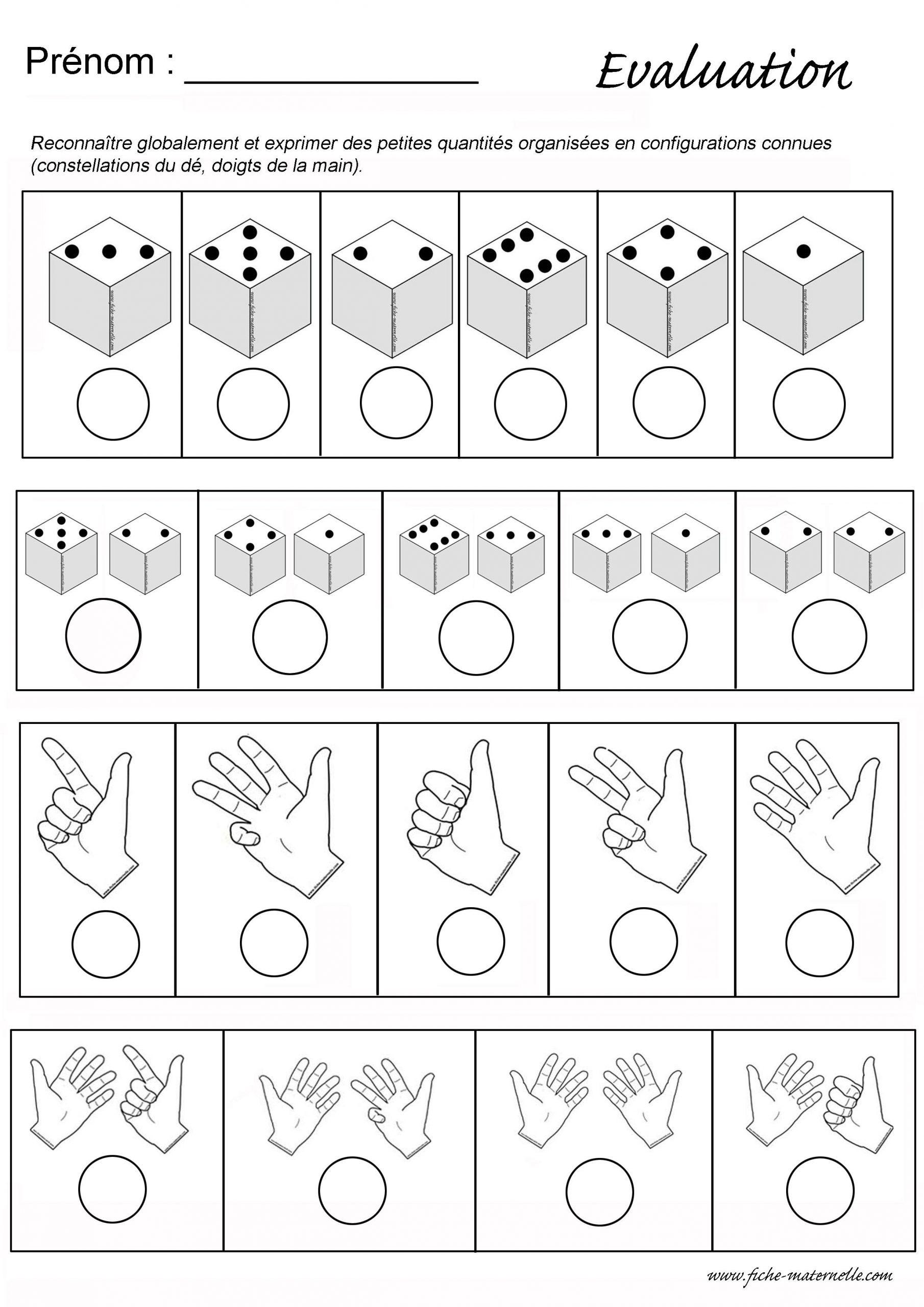 Evaluation Maths En Maternelle : Constellations Et Doigts De dedans Fiche Maternelle Moyenne Section À Imprimer