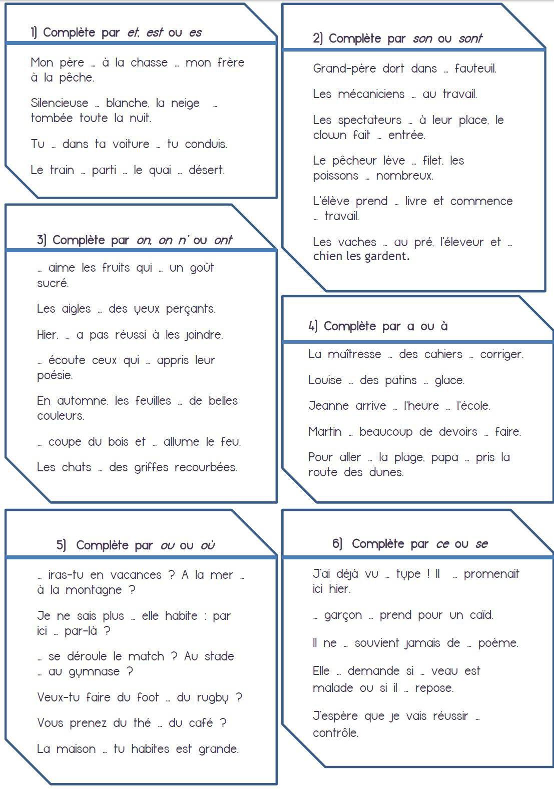 Évaluations Sur Les Homophones Grammaticaux, Niveau Cm1 Et avec Exercice Cm1 Gratuit