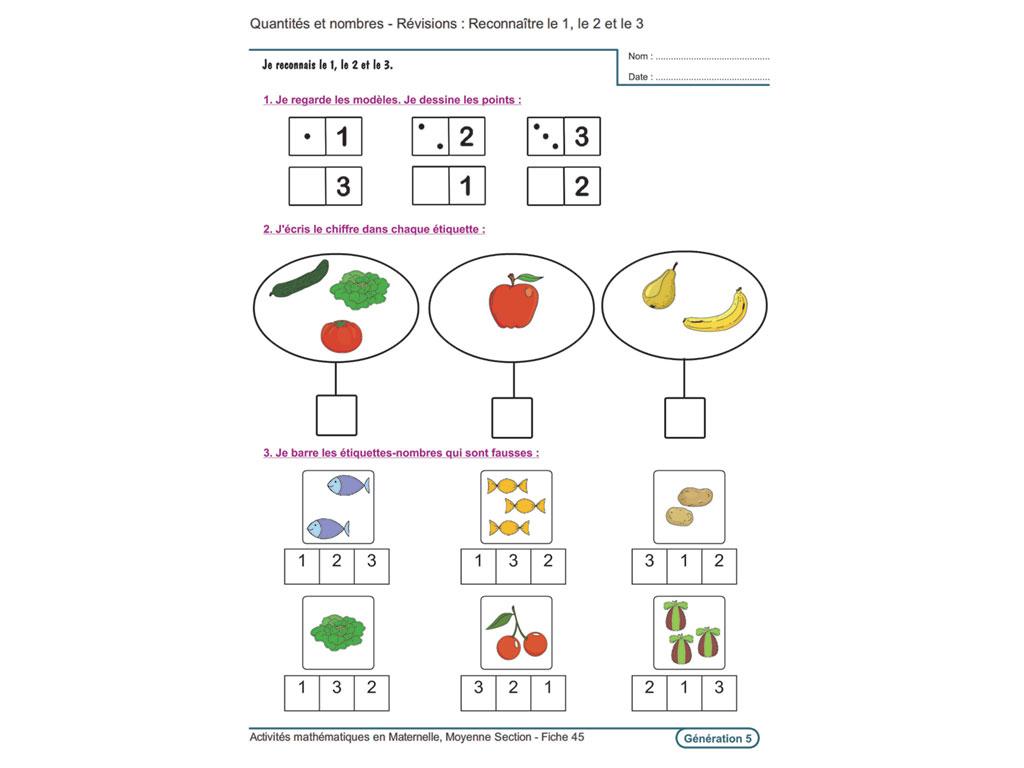 Evolu Fiches - Activités Mathématiques En Moyenne Section pour Exercice Pour Maternelle Petite Section