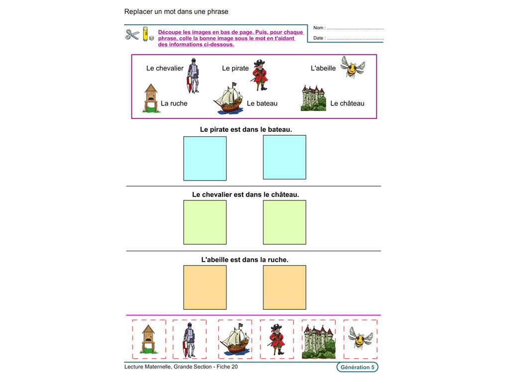 Evolu Fiches - Lecture En Maternelle Grande Section dedans Exercice Maternelle Moyenne Section À Imprimer