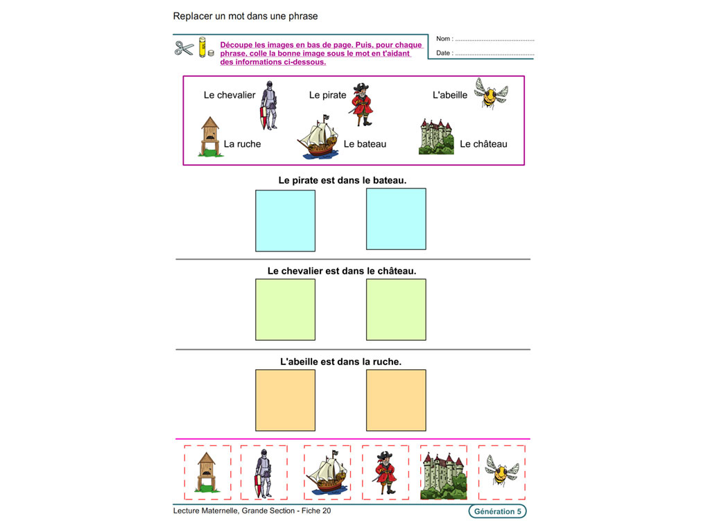 Evolu Fiches - Lecture En Maternelle Grande Section pour Exercices Moyenne Section Maternelle Pdf