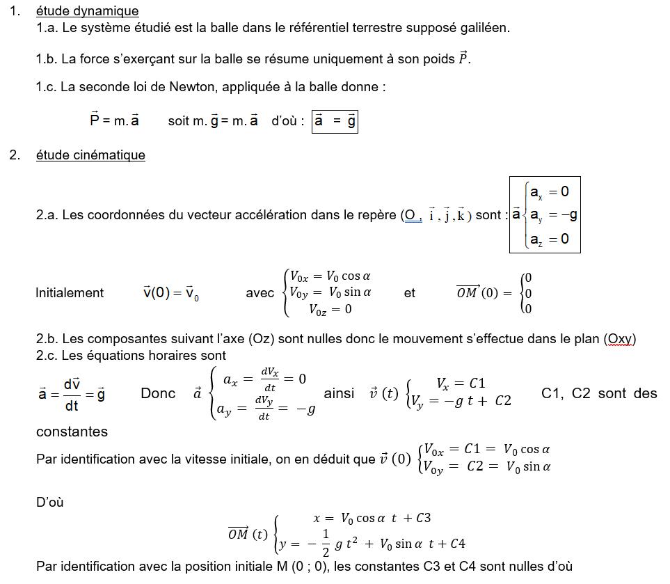 Exercice Corrigé Sur Les Équations Horaires Et Équations De avec Exercice Cm2 Gratuit