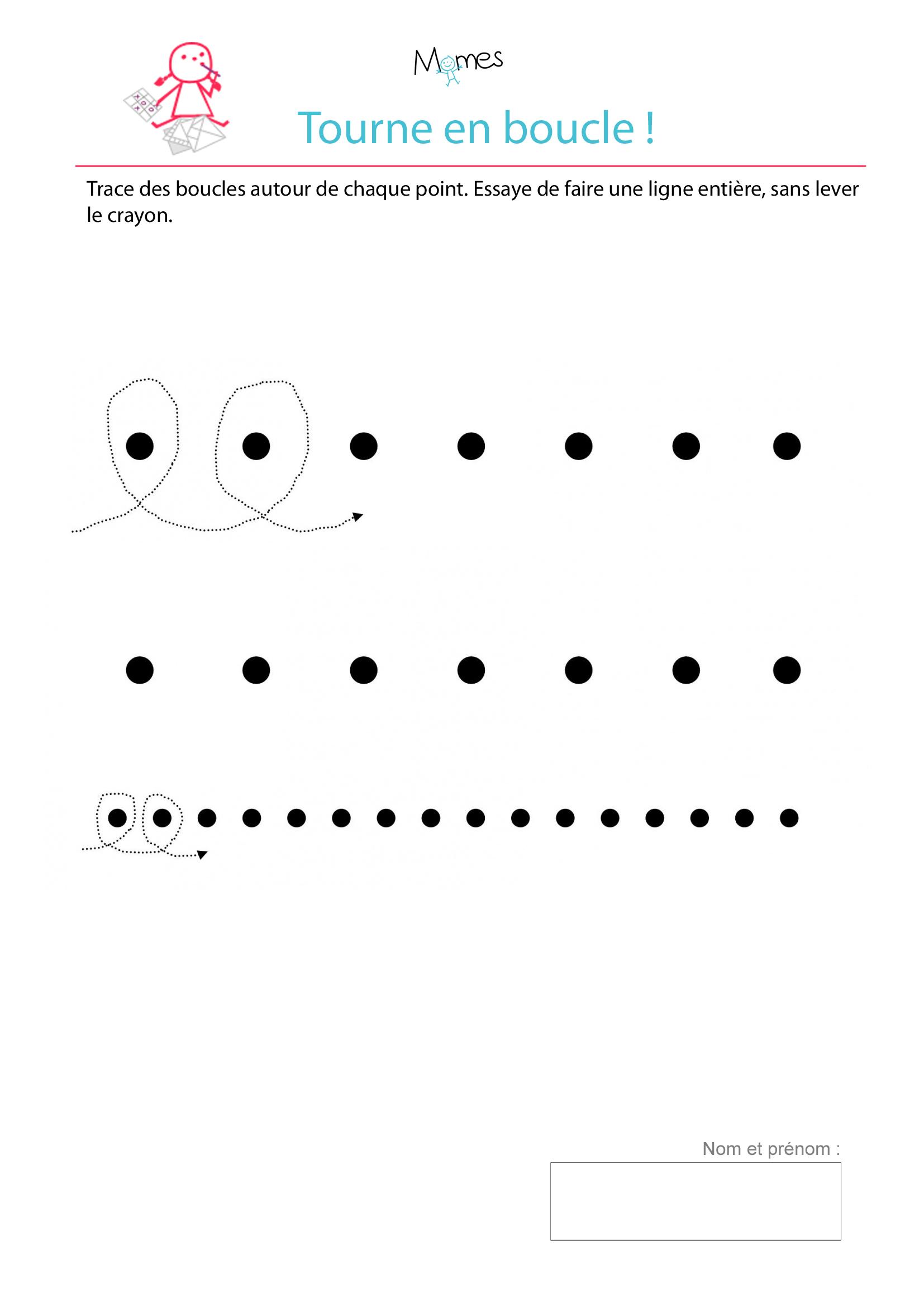 Exercice D'écriture : Tracer Des Boucles Autour De Points à Activité 3 Ans Imprimer