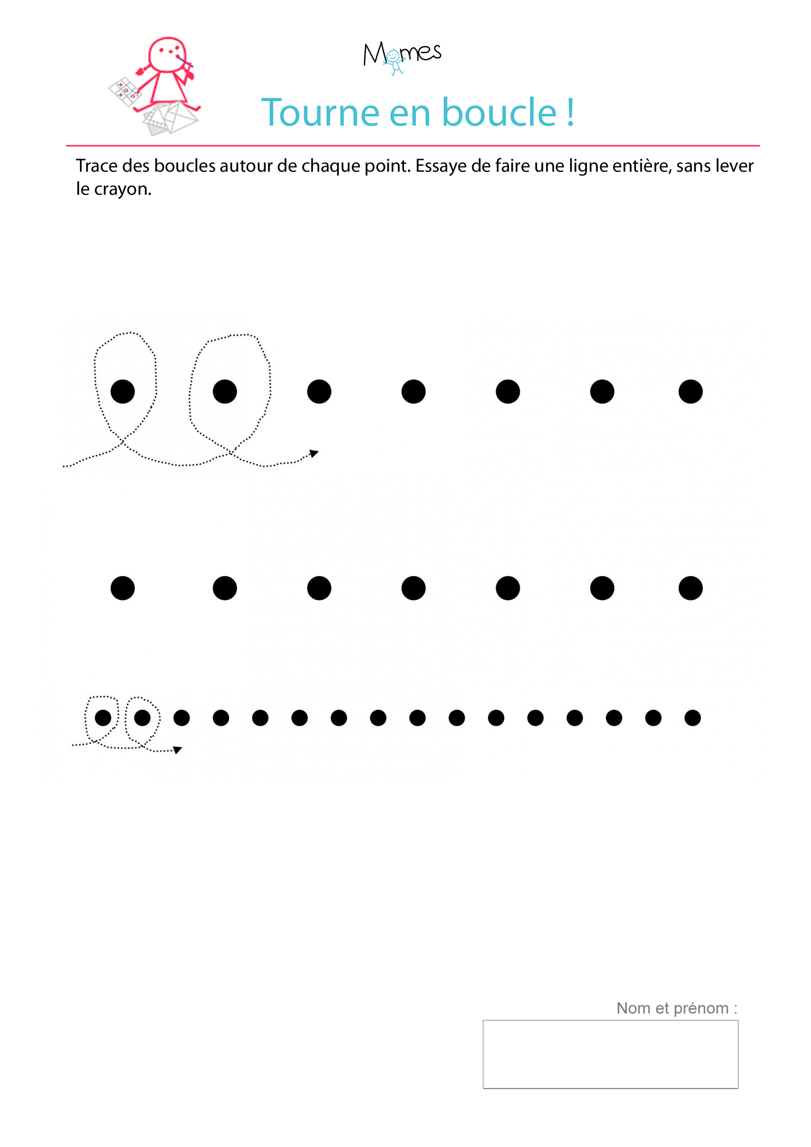Exercice D'écriture : Tracer Des Boucles Autour De Points dedans Exercice Enfant 4 Ans
