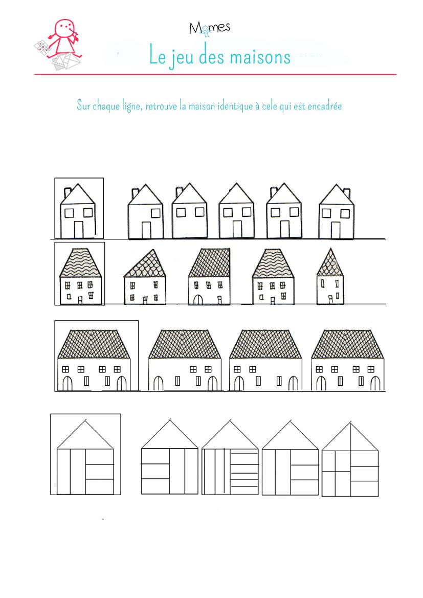Exercice D'observation Et Graphisme : Les Maisons 2 - Momes tout Jeux En Ligne Enfant 4 Ans
