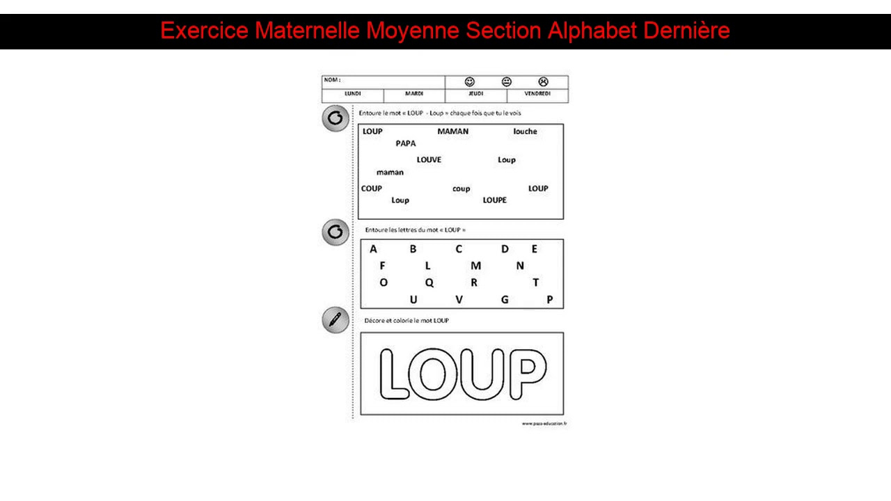 Exercice Maternelle Moyenne Section Alphabet Dernière destiné Exercice Maternelle Moyenne Section
