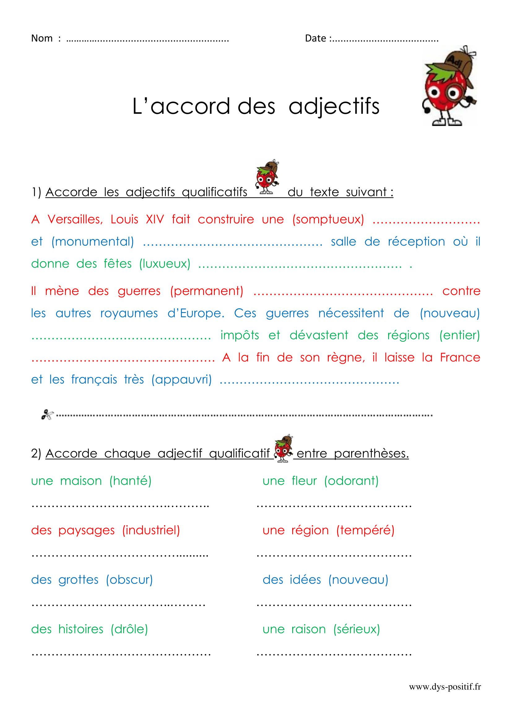 Exercices À Imprimer Et Modifier De La Catégorie Accord Des concernant Cours Ce2 A Imprimer