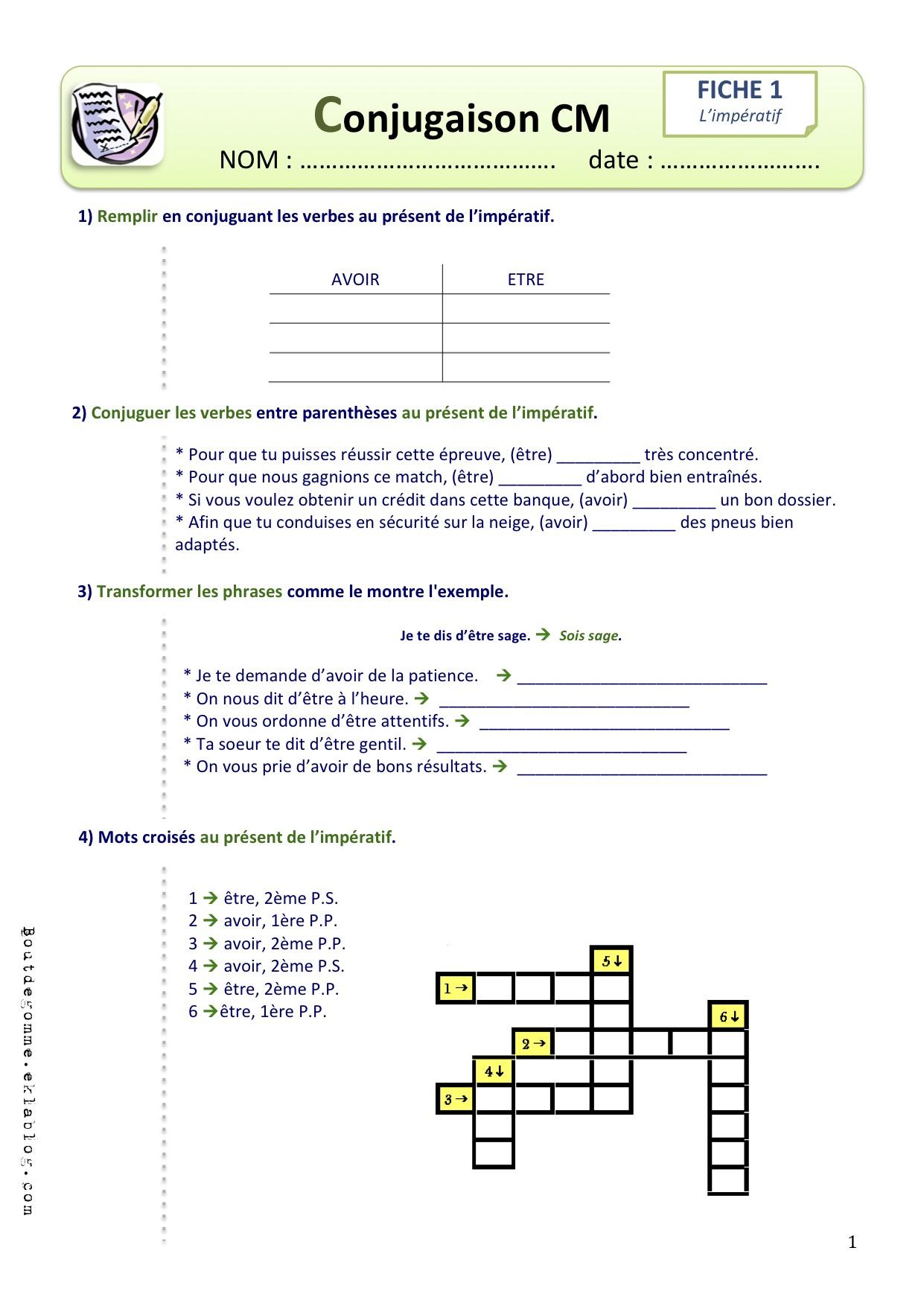 Exercices Conjugaison Cm2 | Bout De Gomme concernant Mots Croisés Cm2 À Imprimer