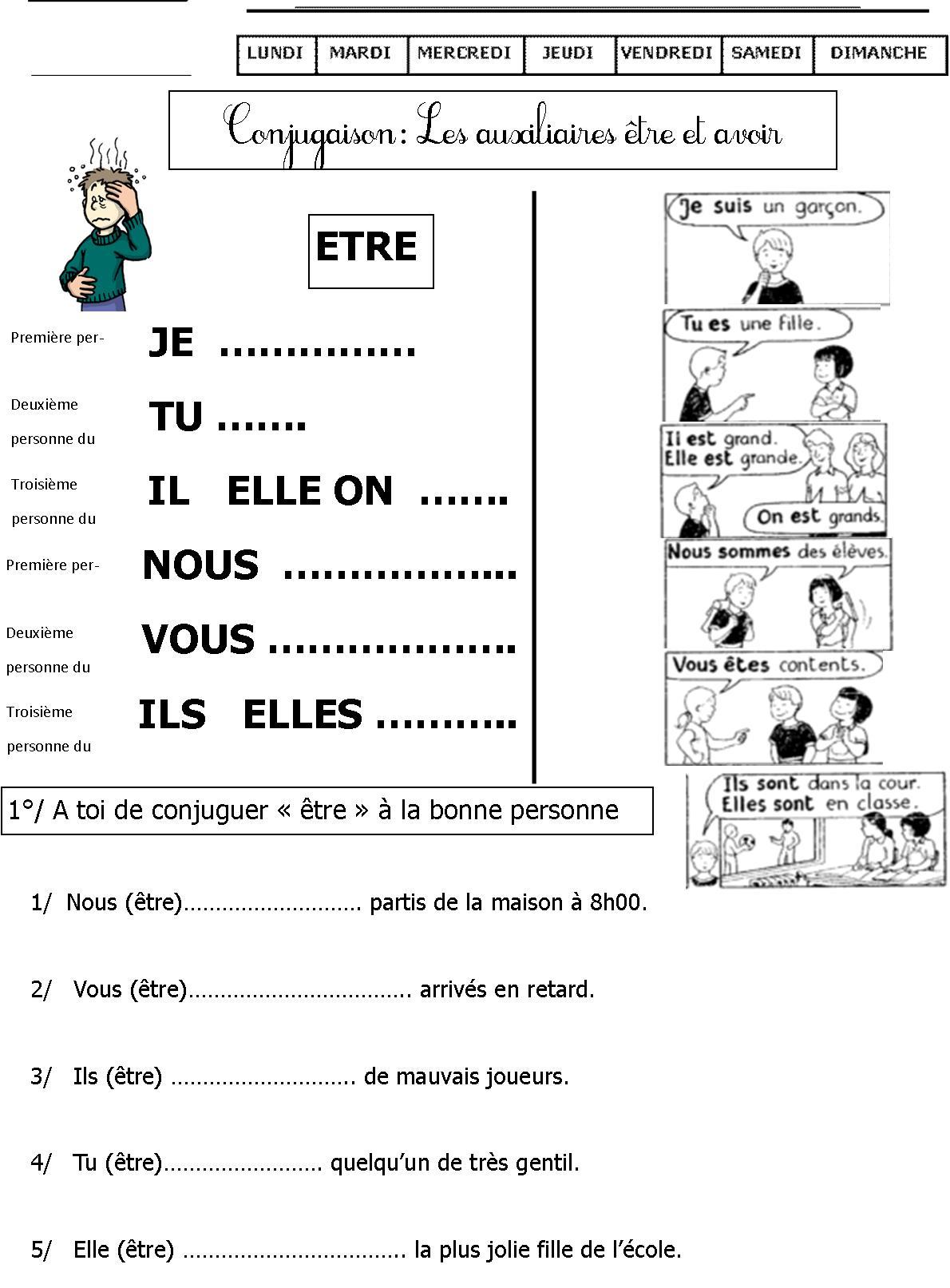 Exercices De Conjugaison Ce1 | Le Blog De Monsieur Mathieu pour Fiche Français Ce1 Imprimer
