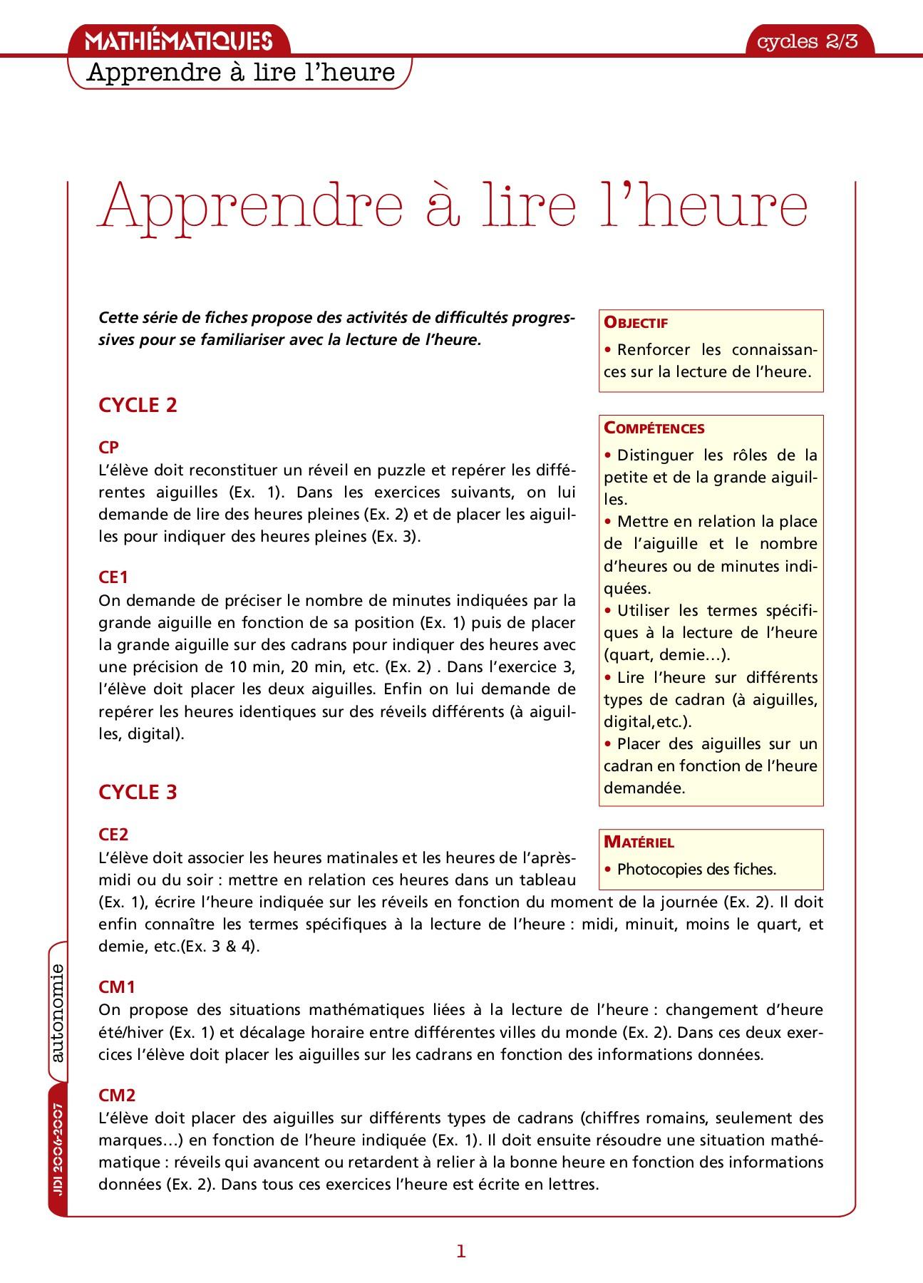 Exercices-Lire-L-Heure-Cp intérieur Exercice Chiffre Romain