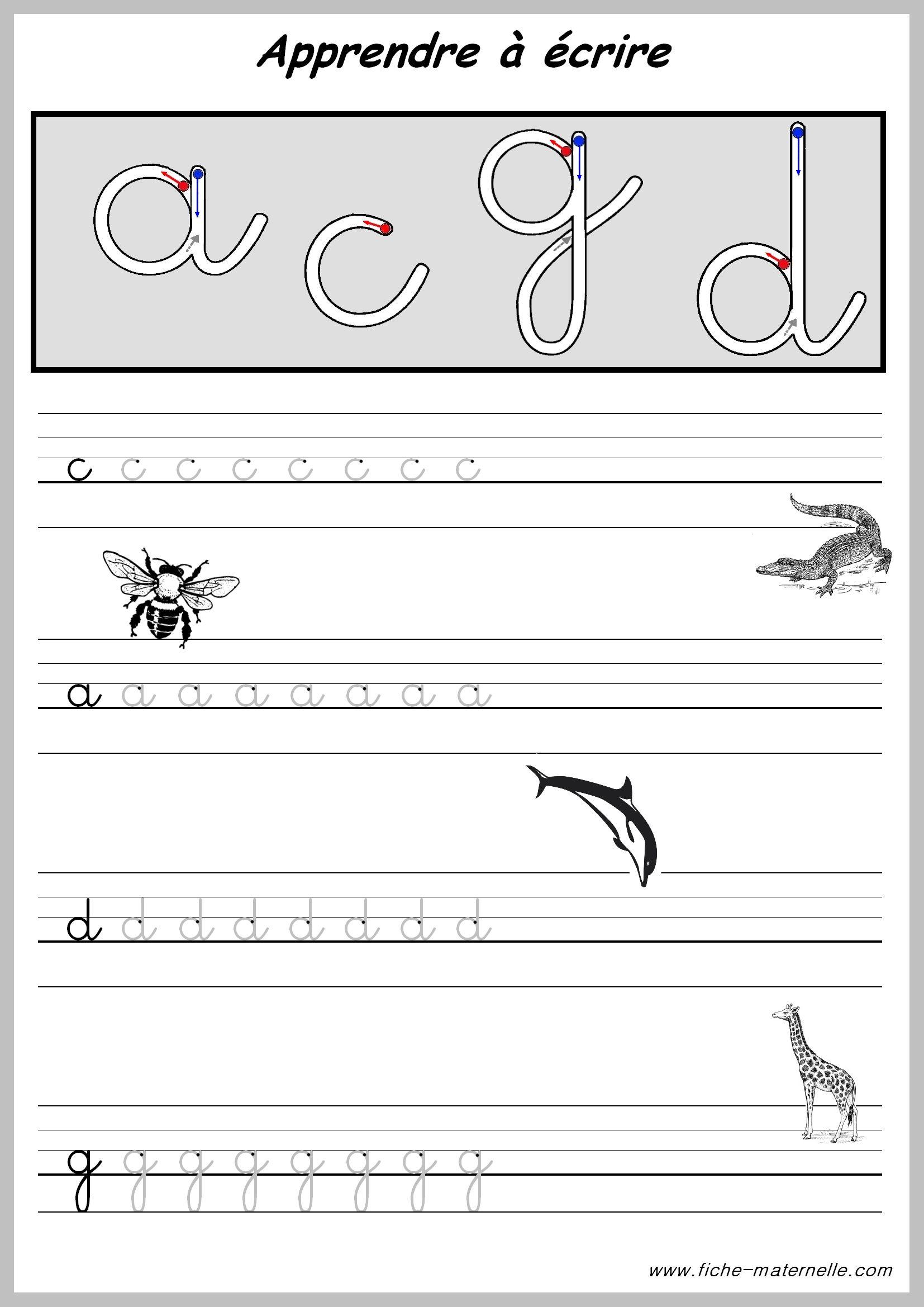 Exercices Pour Apprendre A Ecrire. | Apprendre À Écrire avec Exercice Graphisme Cp
