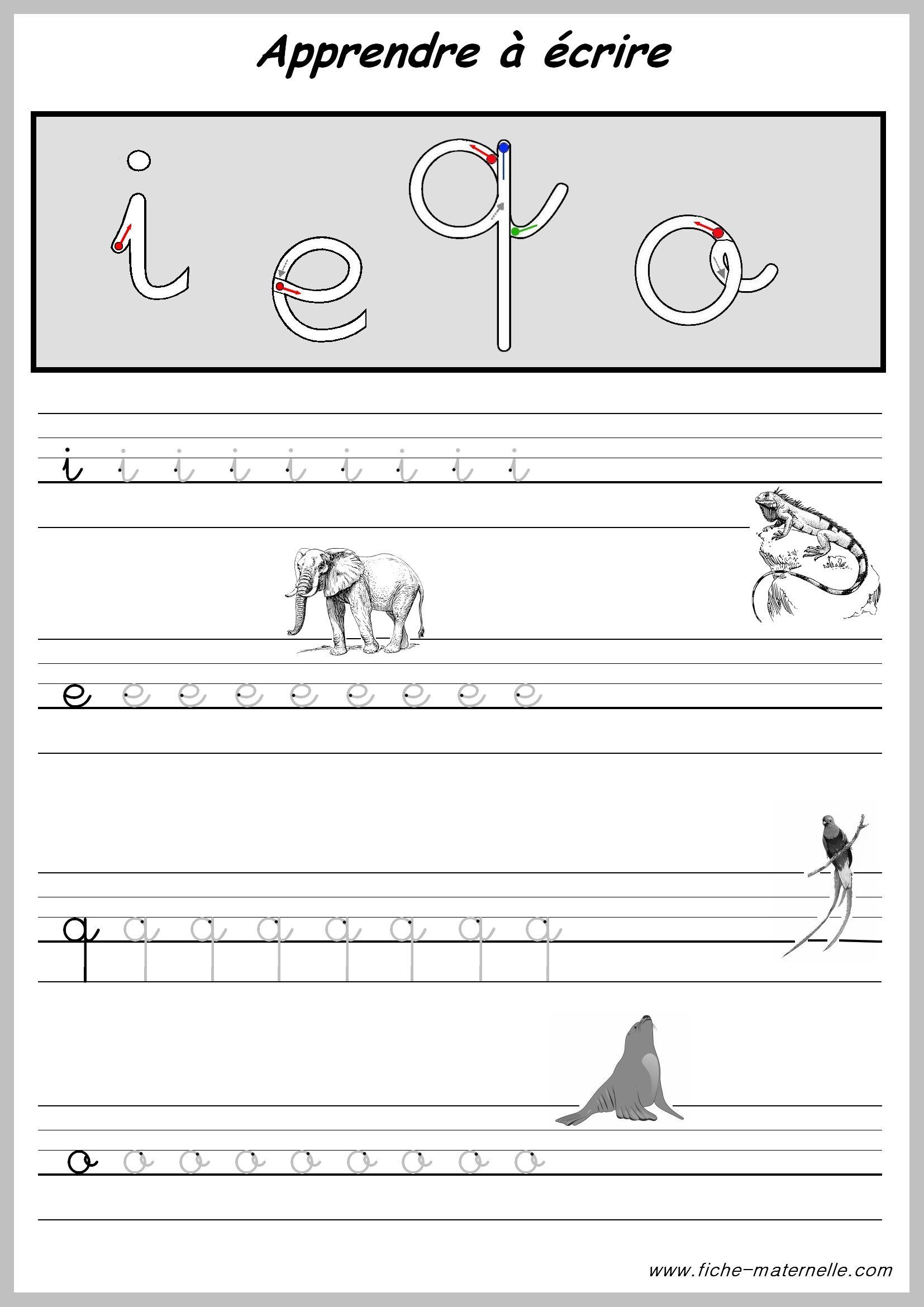 Exercices Pour Apprendre A Ecrire.   Apprendre À Écrire concernant Apprendre À Écrire L Alphabet