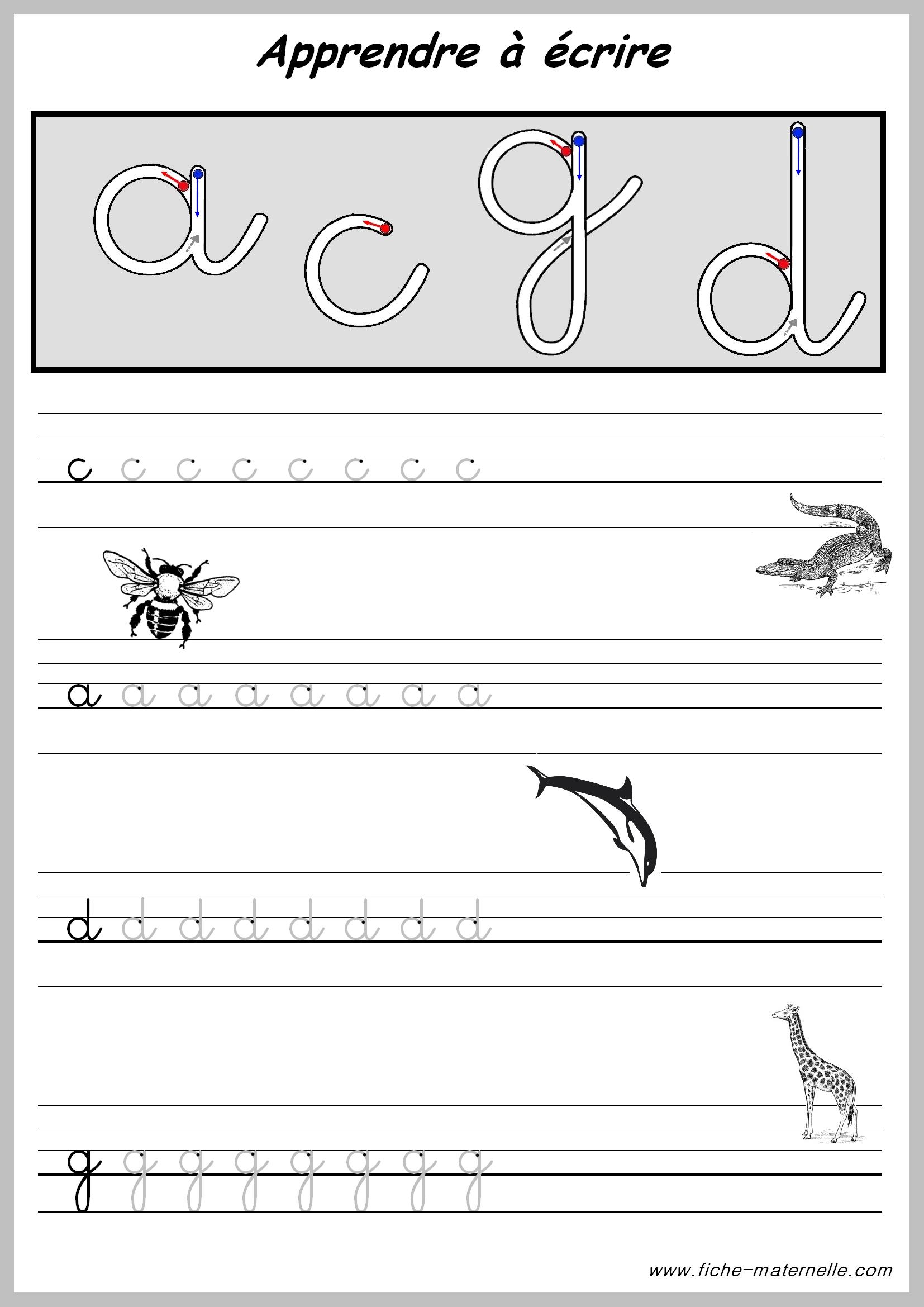 Exercices Pour Apprendre A Ecrire. concernant J Apprend L Alphabet Maternelle