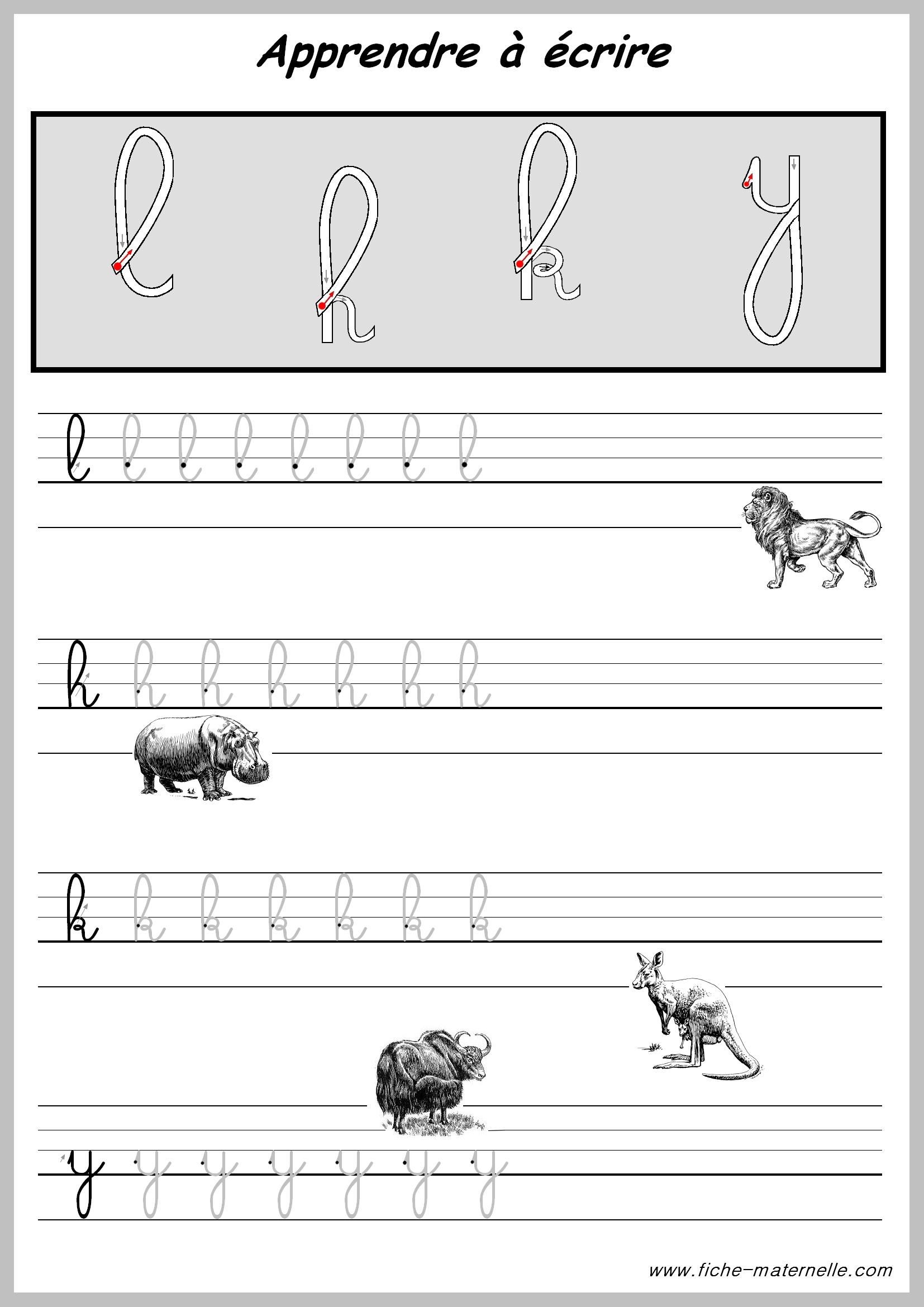 Exercices Pour Apprendre A Ecrire Les Lettres. dedans Apprendre À Écrire L Alphabet En Maternelle