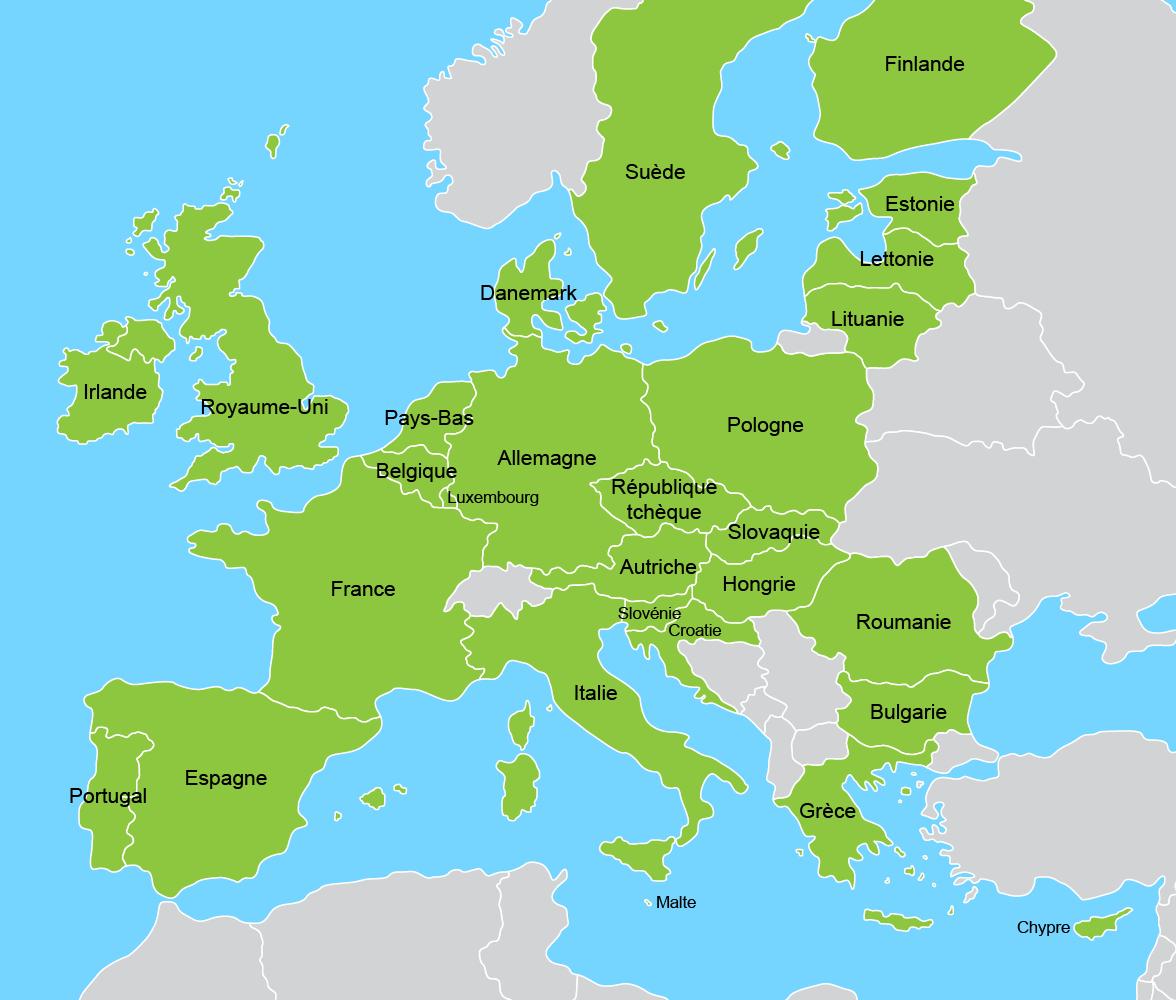 Exporter Vers L'ue - Un Guide Pour Les Entreprises Canadiennes intérieur Carte Union Européenne 28 Pays