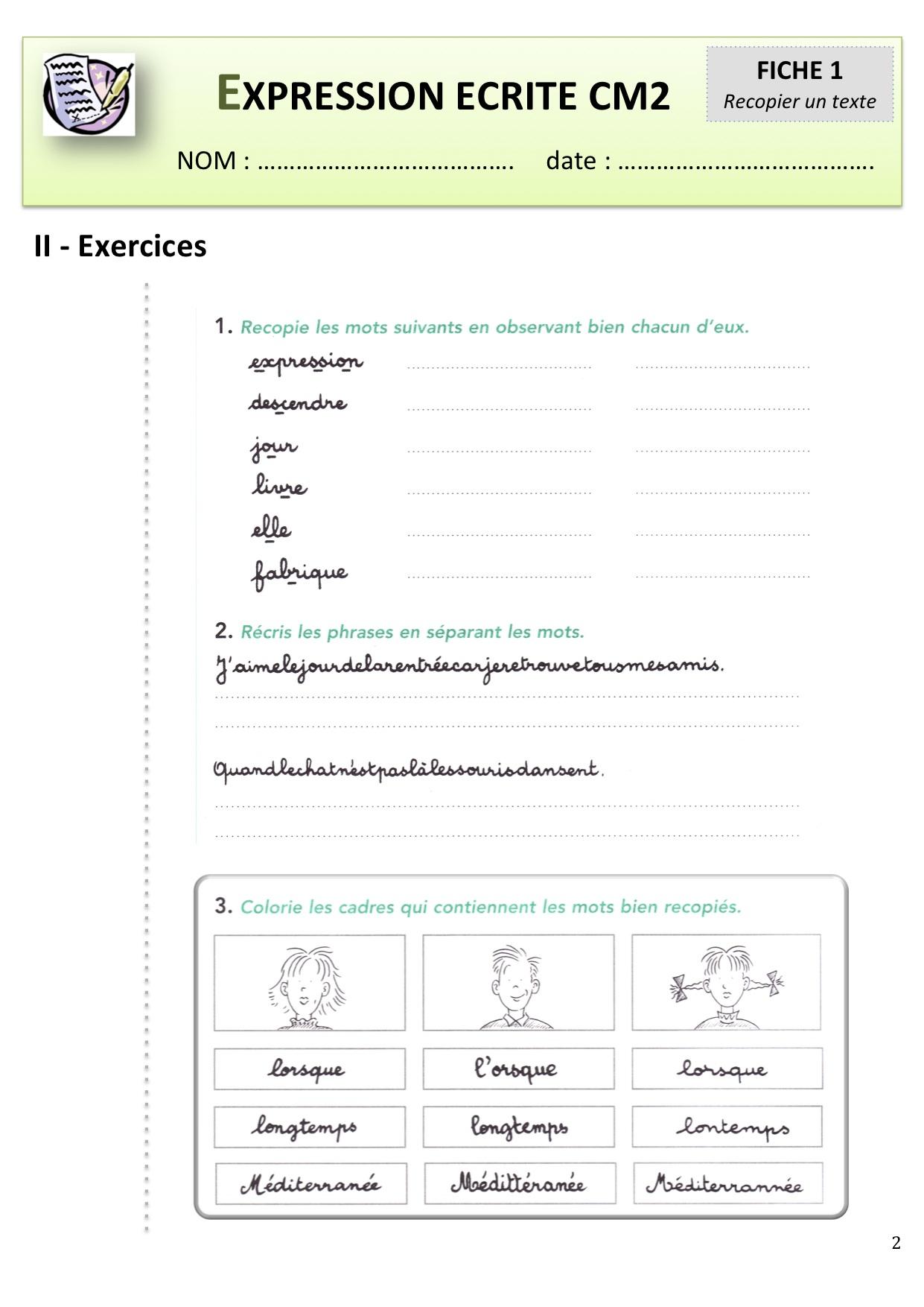 Expression Écrite Cm1-Cm2 | Bout De Gomme destiné Exercice Cm1 Gratuit