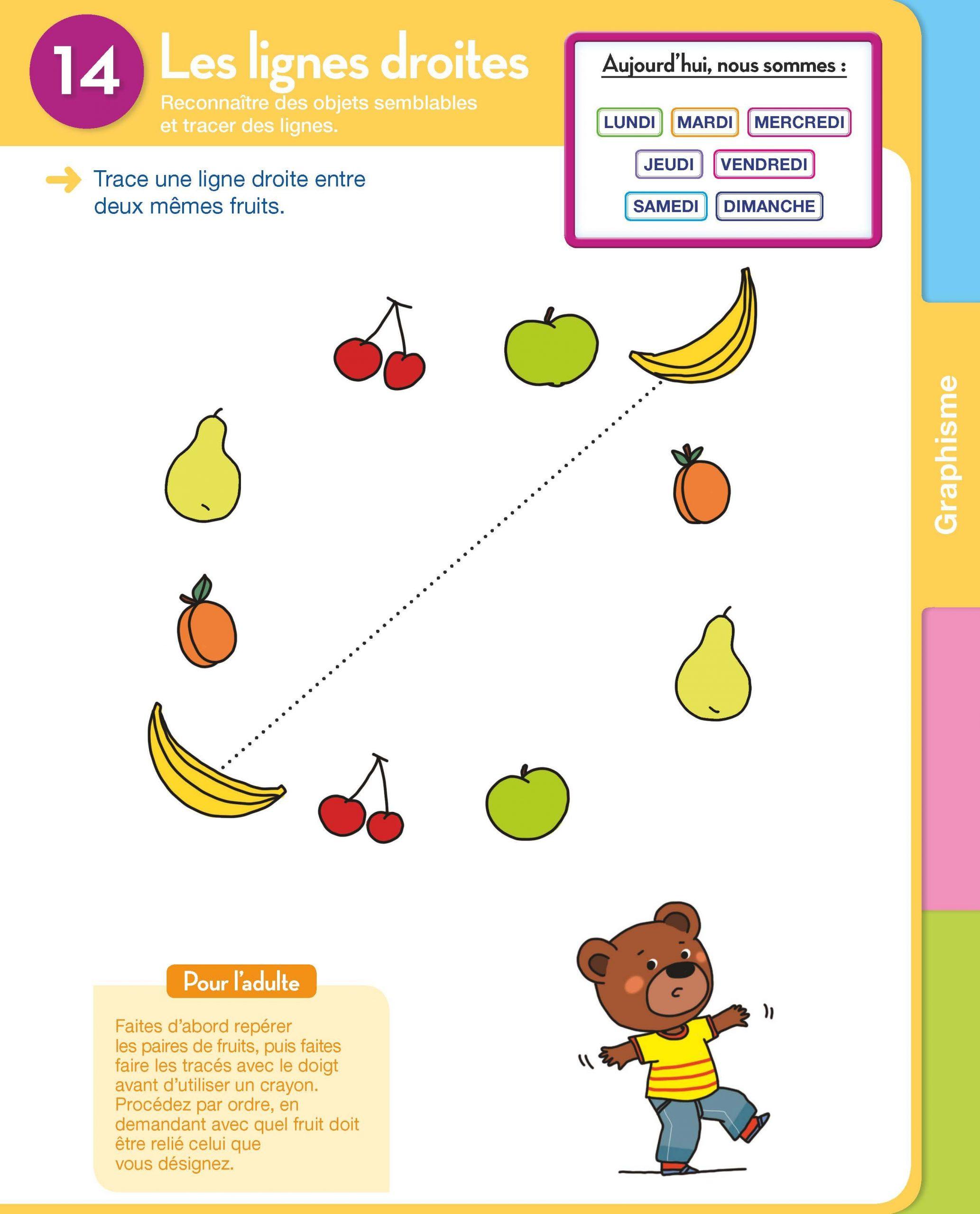 Extrait Graphisme : Les Lignes Droites Toute Ma Maternelle avec Exercice Petite Section En Ligne