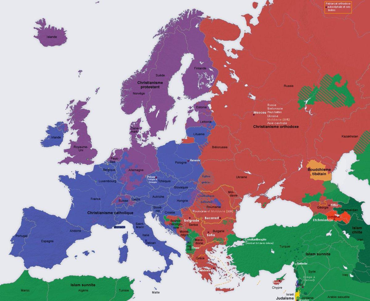 """🌼 Clara 🌼 On Twitter: """"carte Des Religions En Europe.… """" encequiconcerne Carte Union Européenne 2017"""