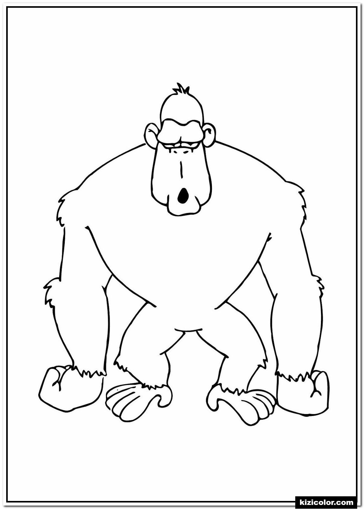 🎨 Gorille Prescolaire S Animaux Du Zoo - Des Pages À serapportantà Coloriage Gorille