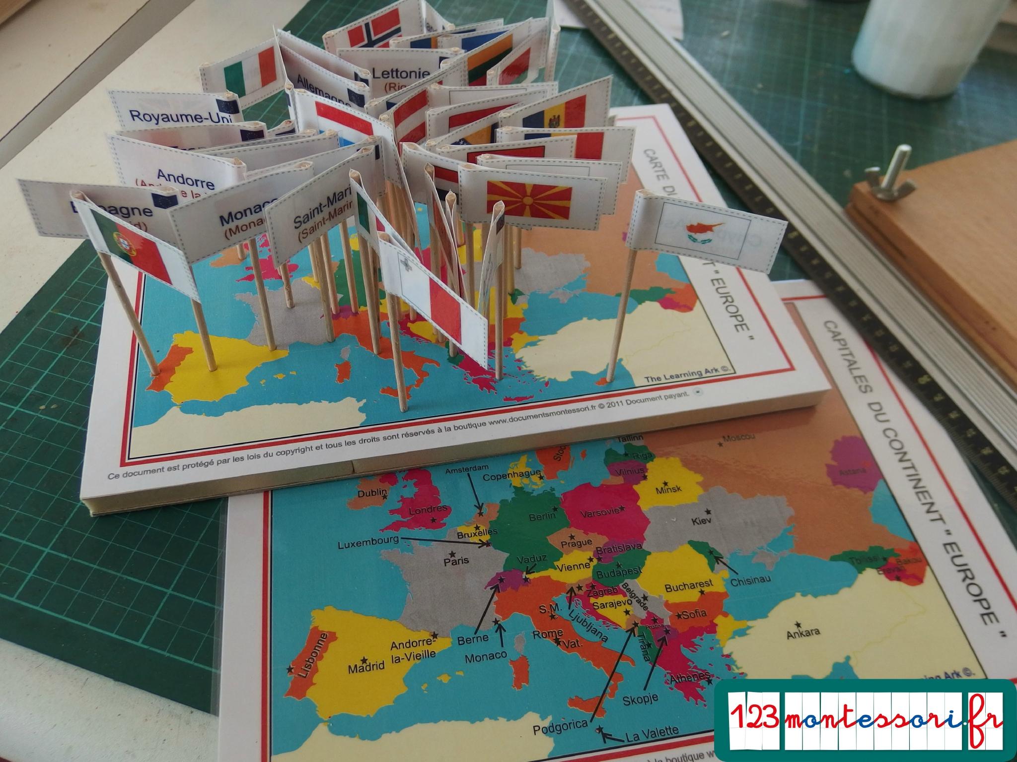 Fabrication Du Jeu Des Drapeaux - 123Montessori, Le Blog avec Drapeaux Européens À Imprimer