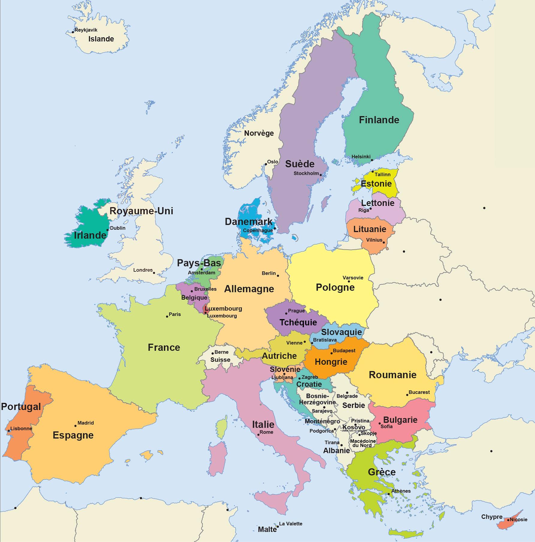 Facile À Lire - L'union Européenne | Union Européenne serapportantà Carte De L Europe Avec Capitale