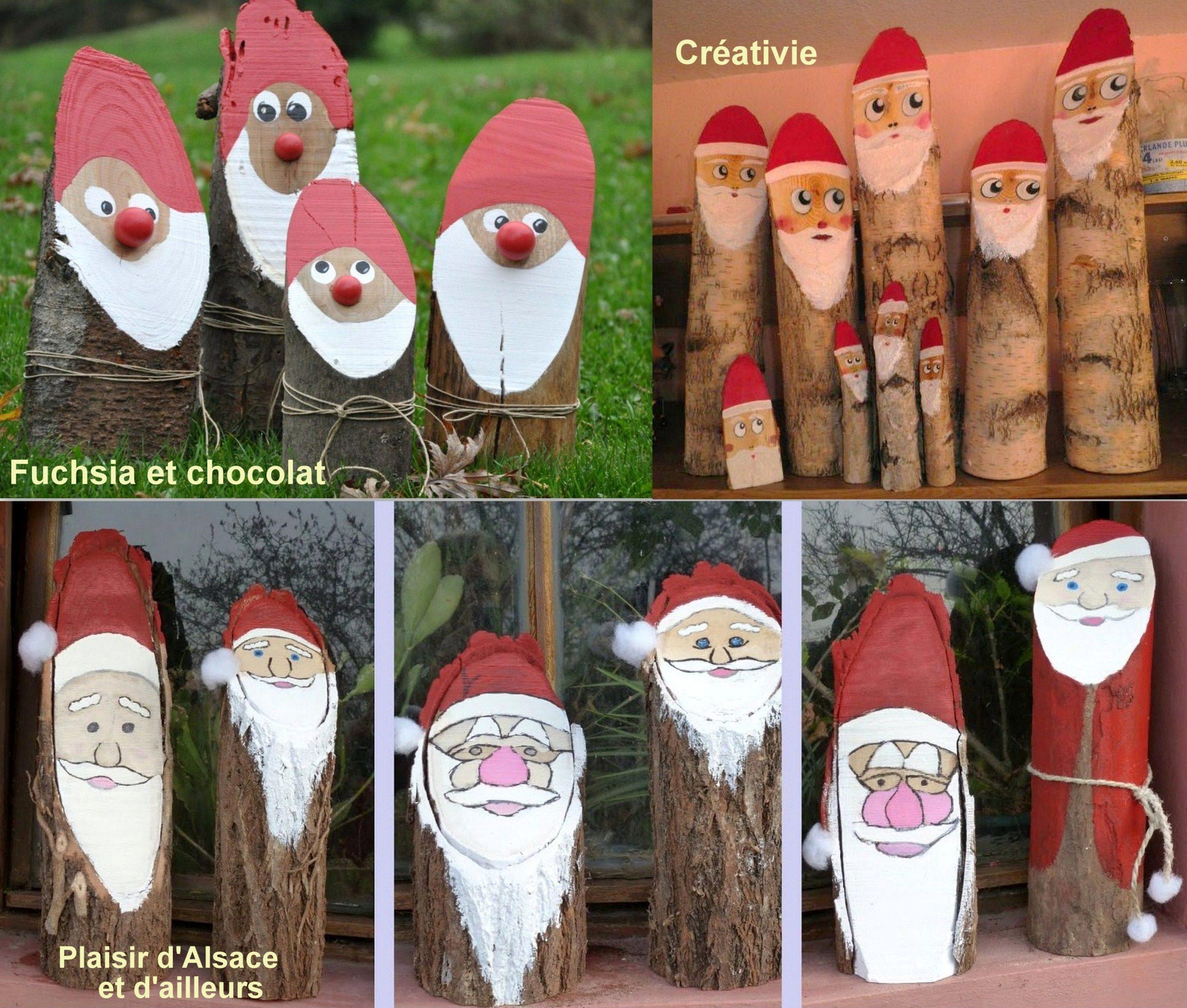 Faire Des Pères Noël En Bûches De Bois | Noël Bricolage Bois encequiconcerne Fabrication De Pere Noel