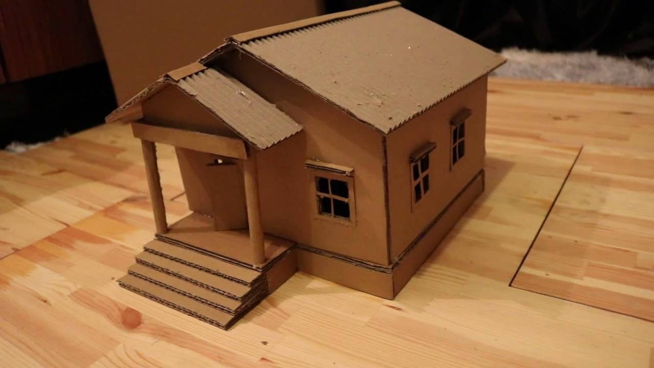Faire Une Belle Maison En Carton. Bricolage Simple intérieur Patron De Maison En Papier A Imprimer