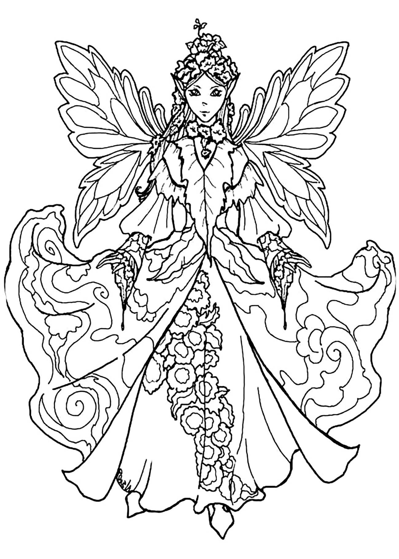 Fairy - Coloring Pages For Adults pour Mandala Fée