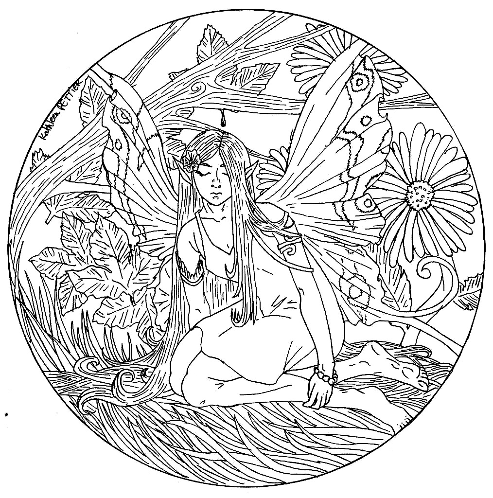 Fairy Mandala Coloring Pages Fairy Coloring Pages For Adults concernant Mandala Fée