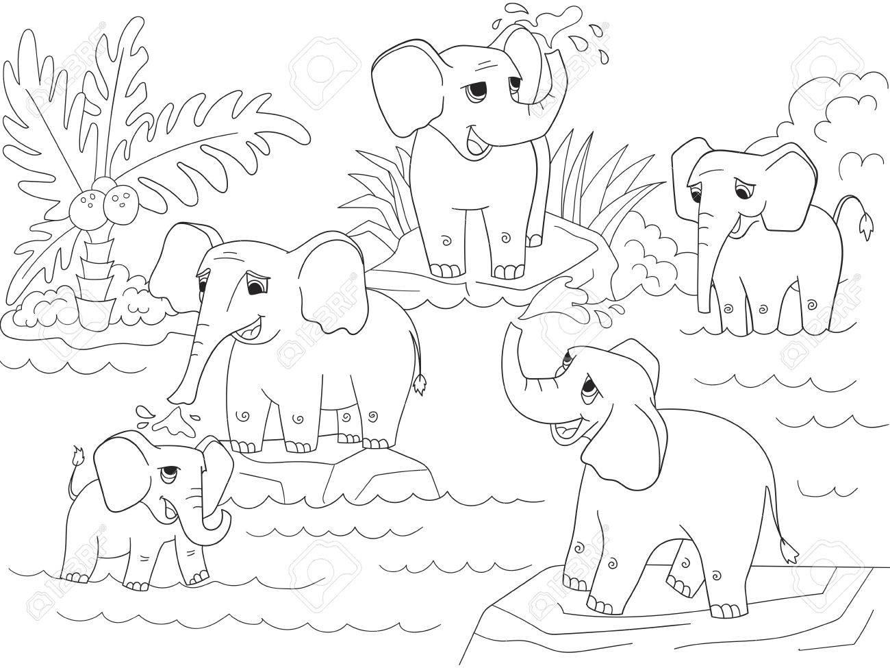 Famille D'éléphants D'afrique Pour Colorier Livre Pour Enfants Dessin Animé  Illustration Vectorielle concernant Dessin Africain A Colorier