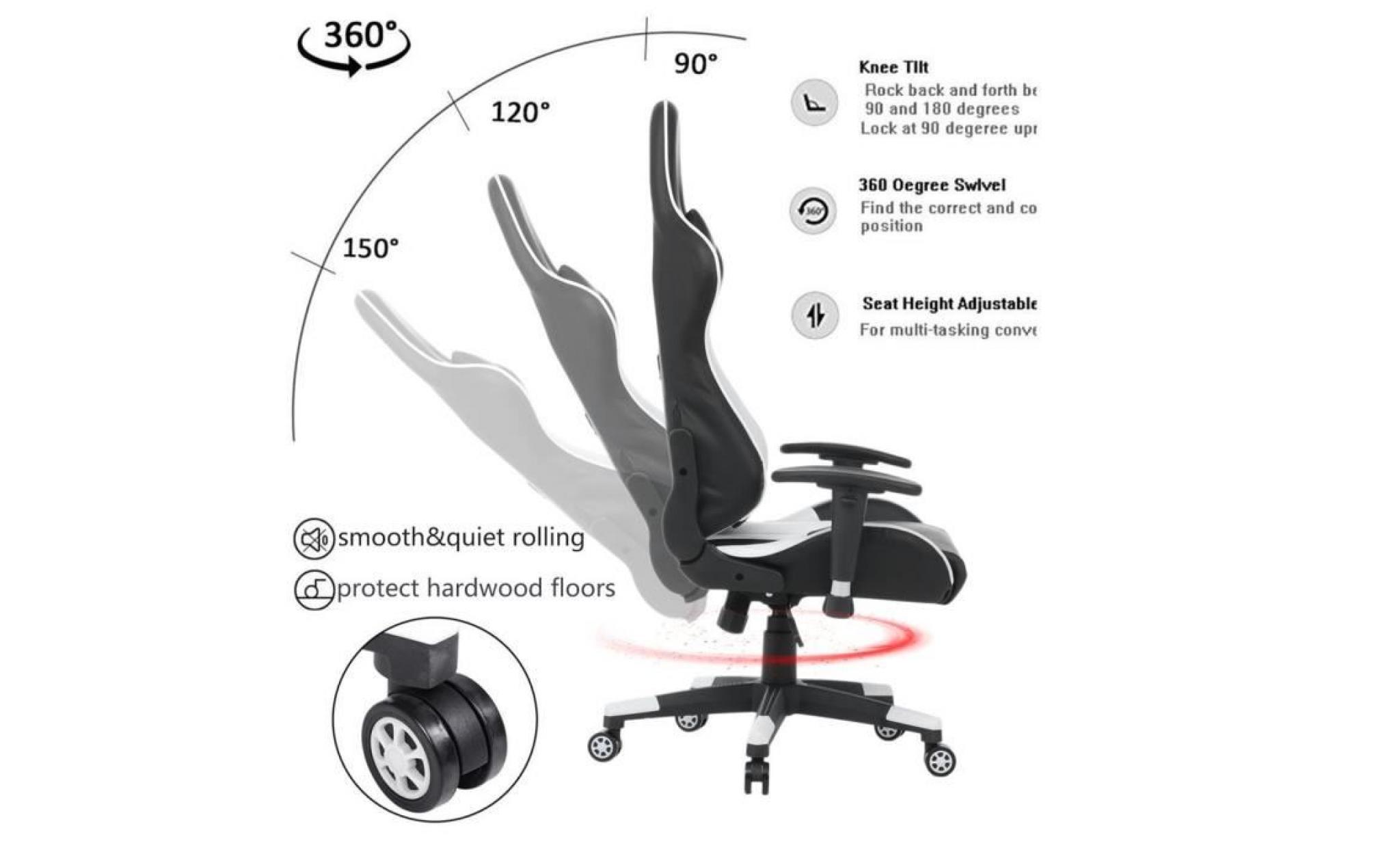 Fauteuil De Bureau Chaise De Jeu Avec Roulettes À 360 Degrés Super  Confortable Style Contemporain Blanc intérieur 90 Degrés Jeux