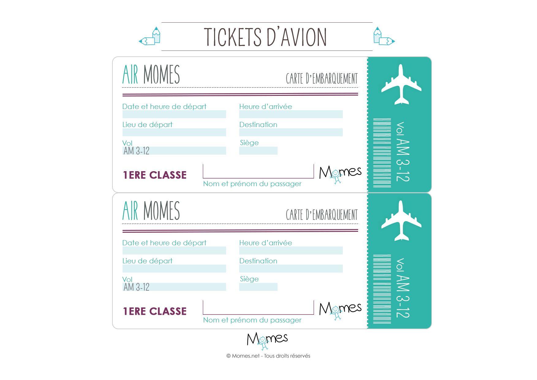 Faux Billet D'avion À Imprimer | Billet Avion, Carte D destiné Billet À Imprimer Pour Jouer