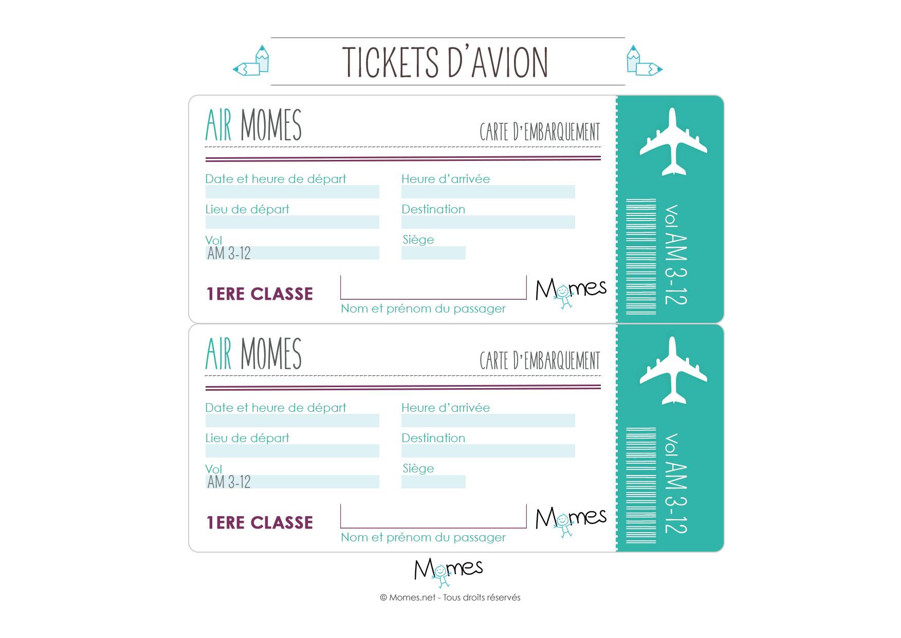 Faux Billet D'avion À Imprimer - Momes à Faux Billet A Imprimer