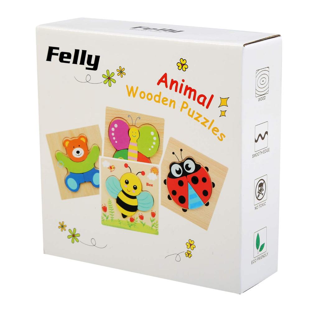 Felly Jouet Bebe - Puzzles En Bois, Jouet Enfant 1 2 3 4 Anse intérieur Jeux Educatif 4 Ans
