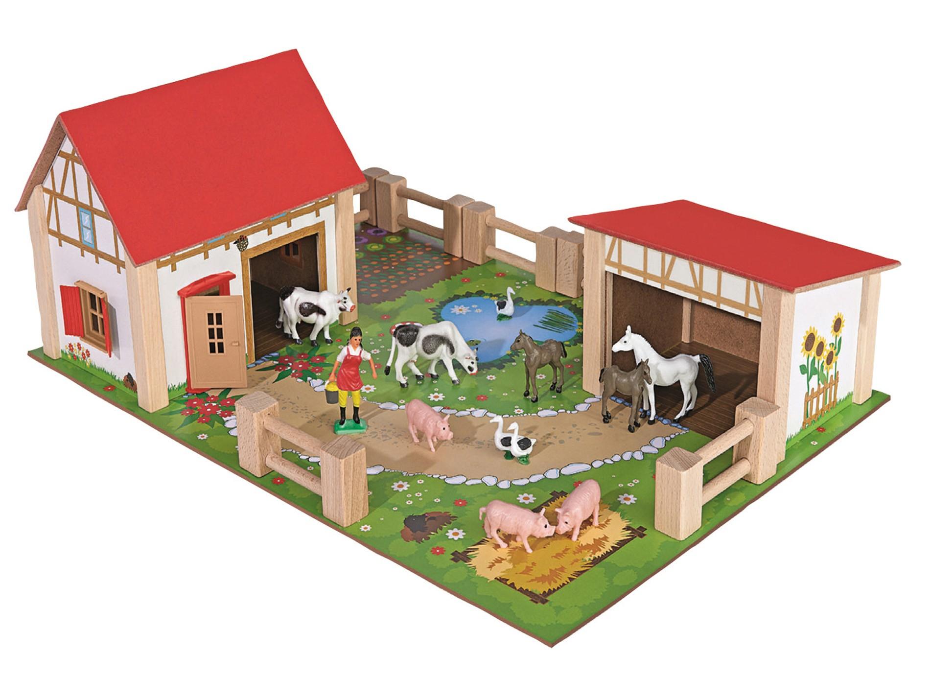 Ferme En Bois 25 Pièces - Jeux, Jouets Et Miniatures destiné Jeux De Ferme Gratuit Avec Des Animaux
