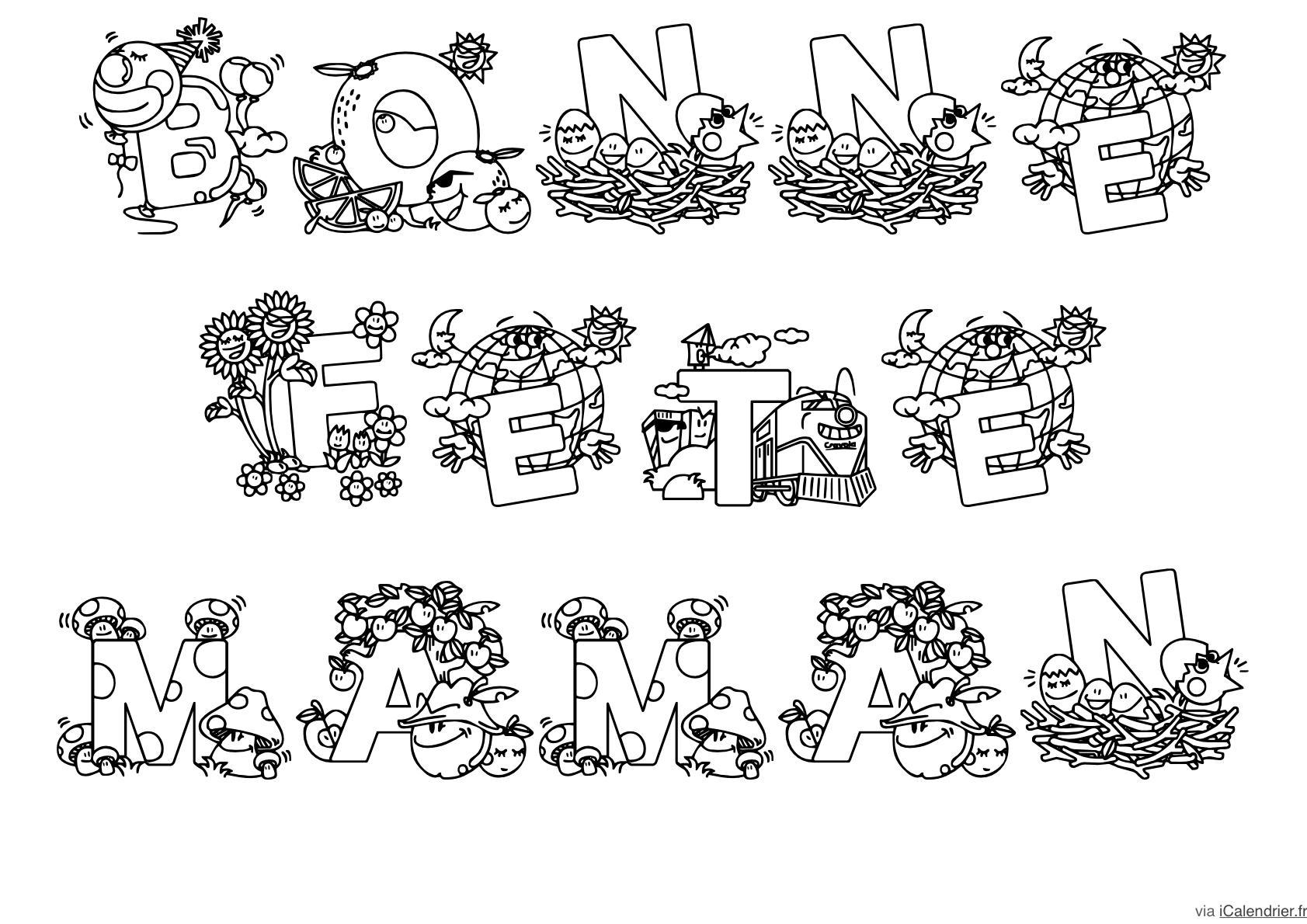 Fête Des Mères - Coloriages À Offrir - Icalendrier destiné Carte Bonne Fete Maman Imprimer