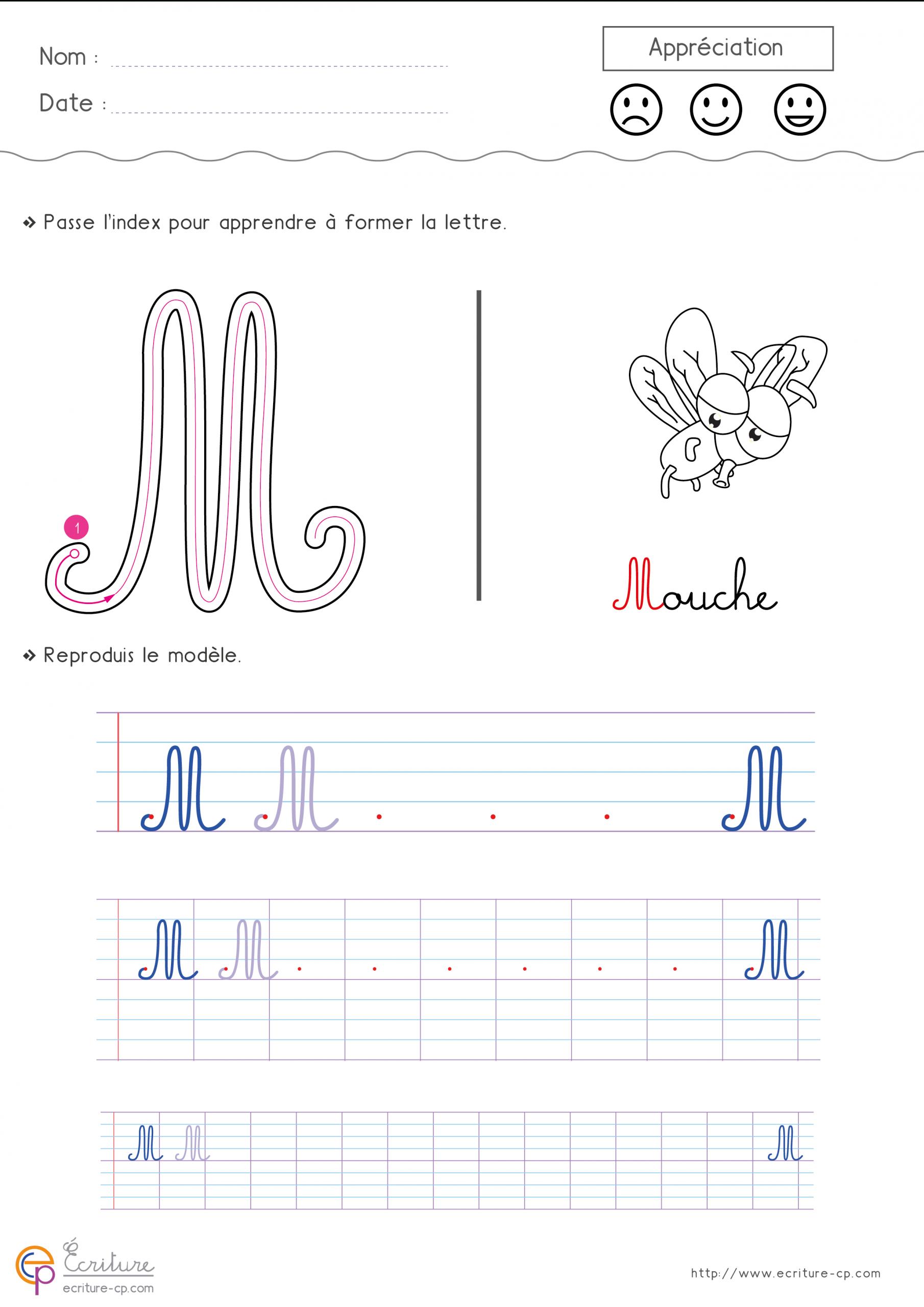 Feuille-D-Ecriture-Cp-Ecrire-La-Lettre-M-Majuscule-87Ty dedans Exercice Graphisme Cp