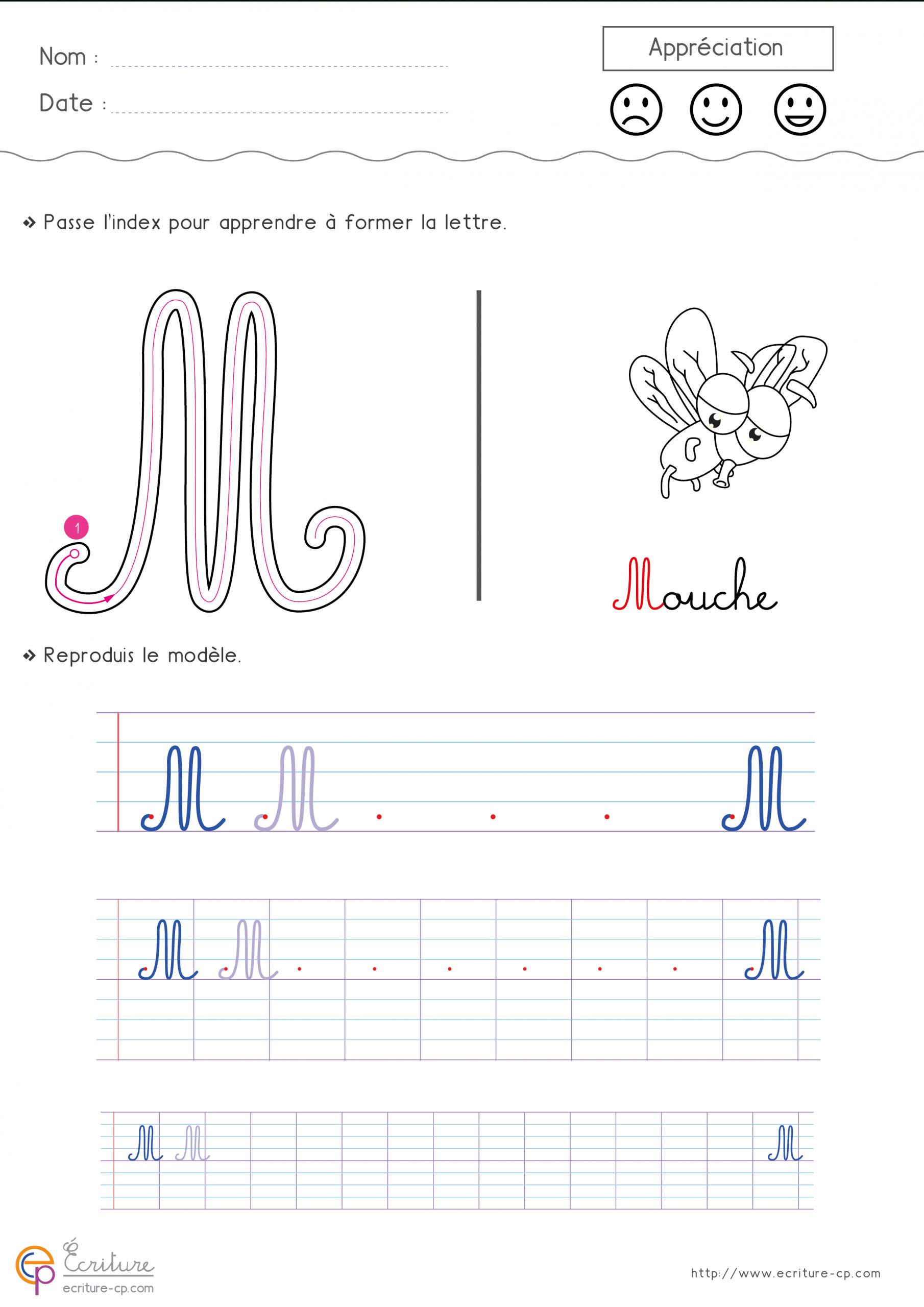 Feuille-D-Ecriture-Cp-Ecrire-La-Lettre-M-Majuscule-87Ty intérieur Modèle D Alphabet