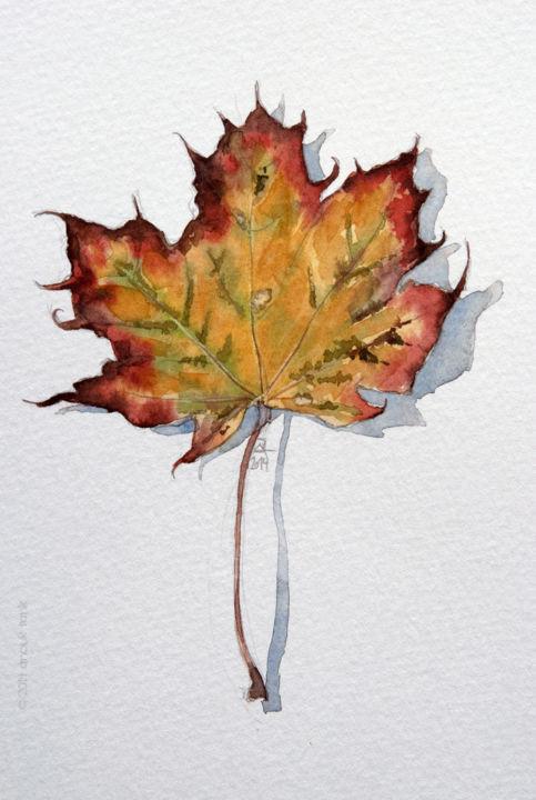 Feuille D'automne #7 Peinture Par Anouk Tank | Artmajeur à Dessin De Feuille D Automne