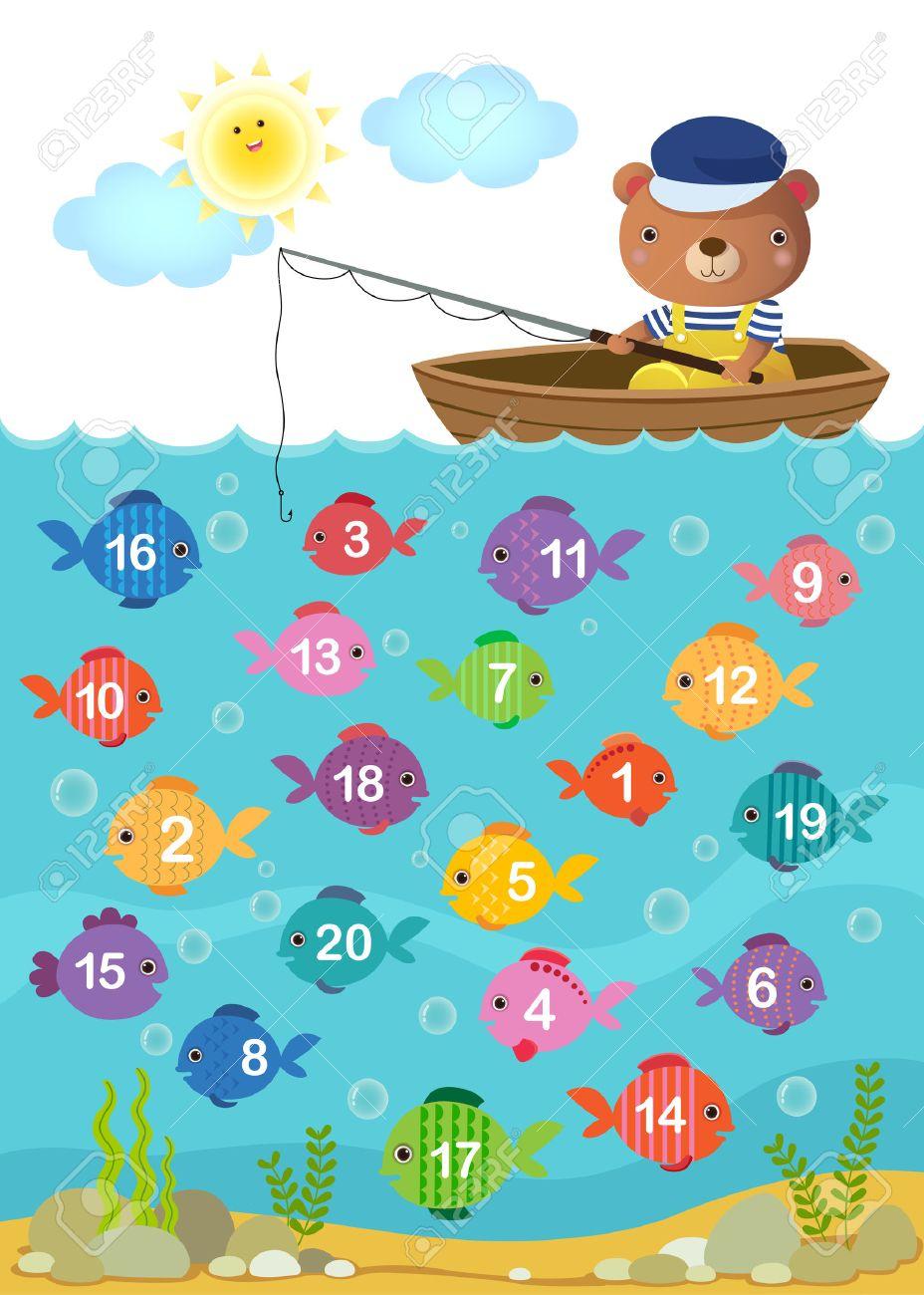Feuille De Calcul Pour La Maternelle Les Enfants À Apprendre À Compter Avec  Nombre Ours Mignon concernant Apprendre A Compter Maternelle