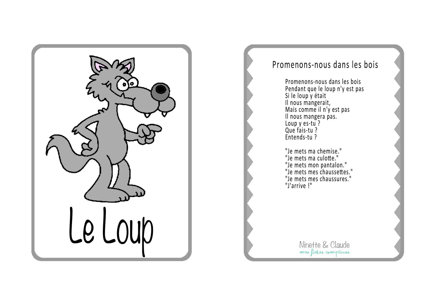 Fiche Comptine - Promenons-Nous Dans Les Bois - Ninette Et dedans Creche A Imprimer