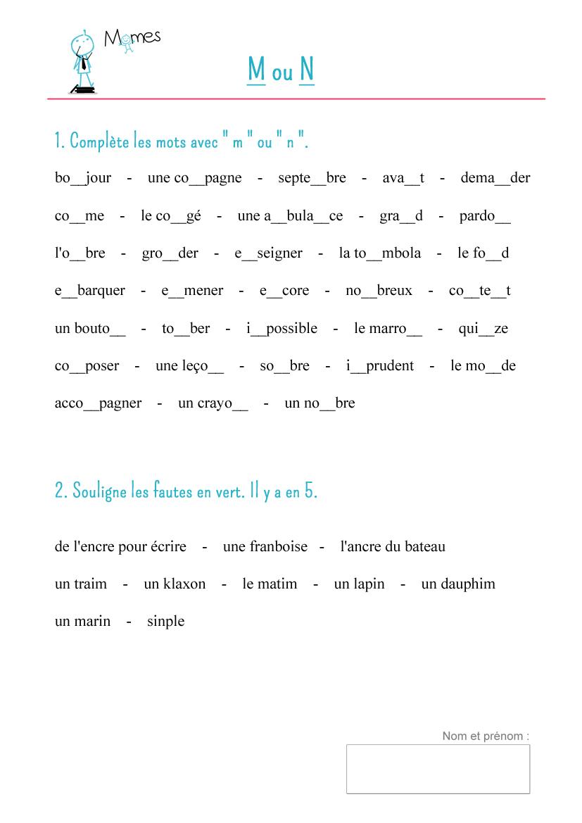 Fiche De Cours : M Devant B, P Et M - Momes destiné Fiche Français Ce1 Imprimer