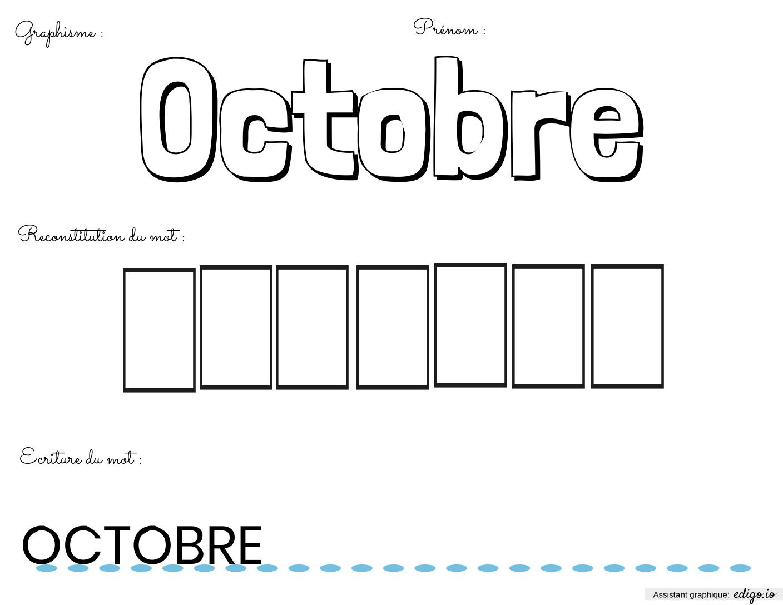 Fiche Du Mois D'octobre, Lecture, Écriture, Exercices Et concernant Exercice Graphisme Cp