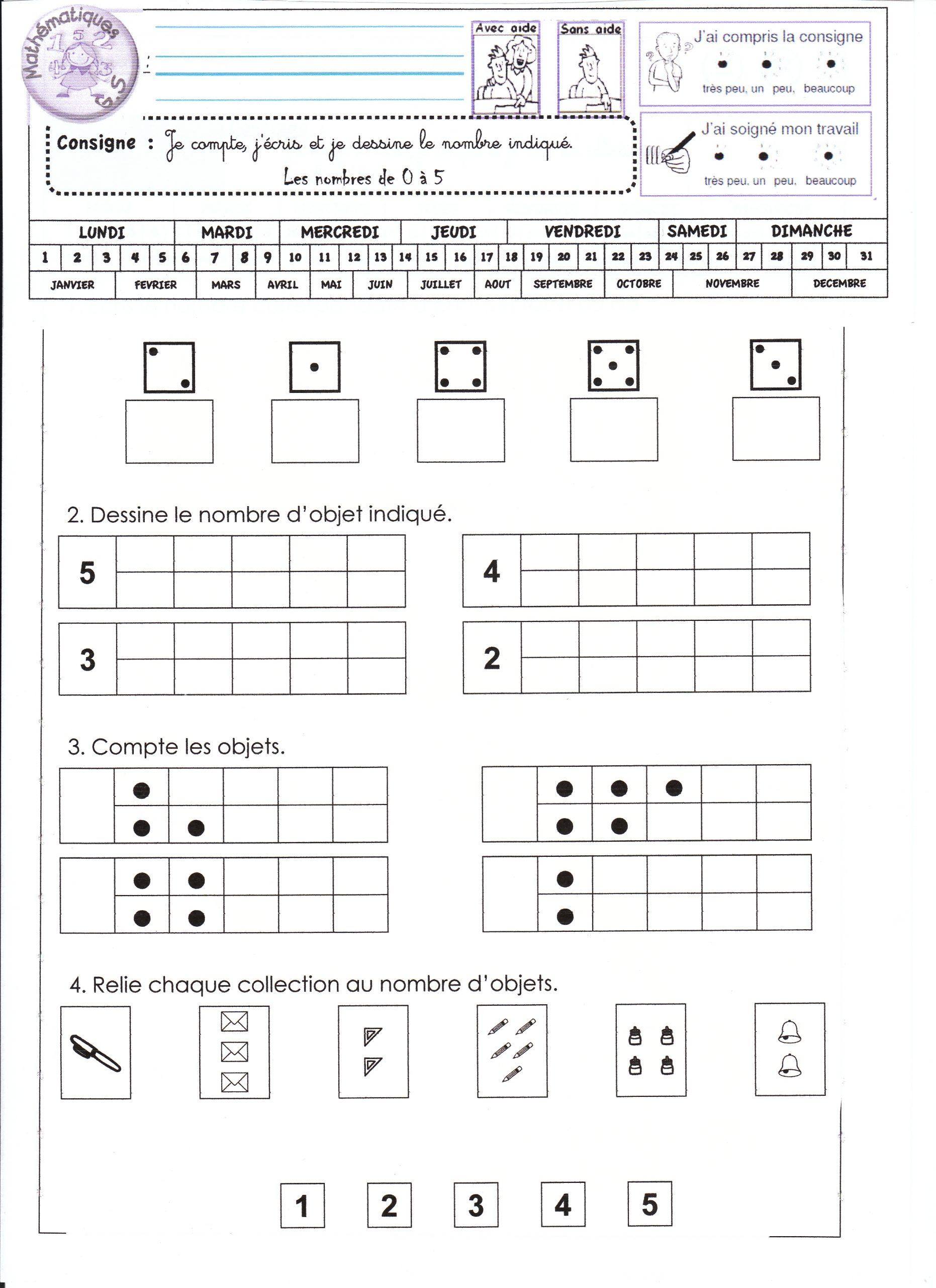 Fiches De Math Gs - La Classe De Luccia ! serapportantà Fiche D Exercice Grande Section A Imprimer