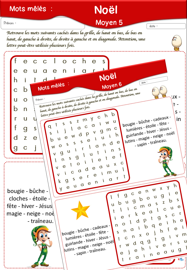 Fiches De Vocabulaire concernant Mots Croisés Noel