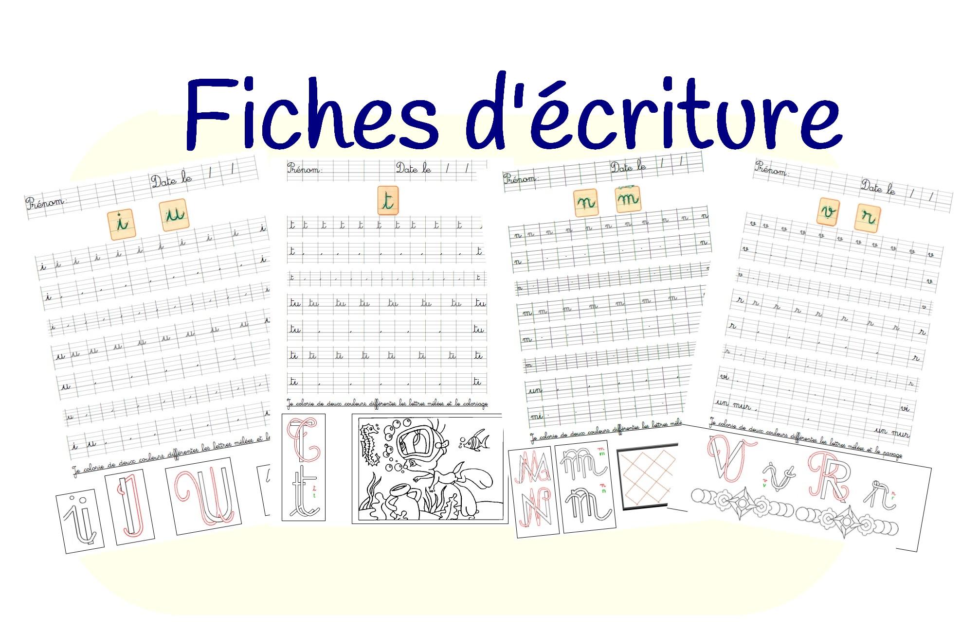 Fiches D'entraînement D'écriture Cursive pour Apprendre A Écrire Les Lettres